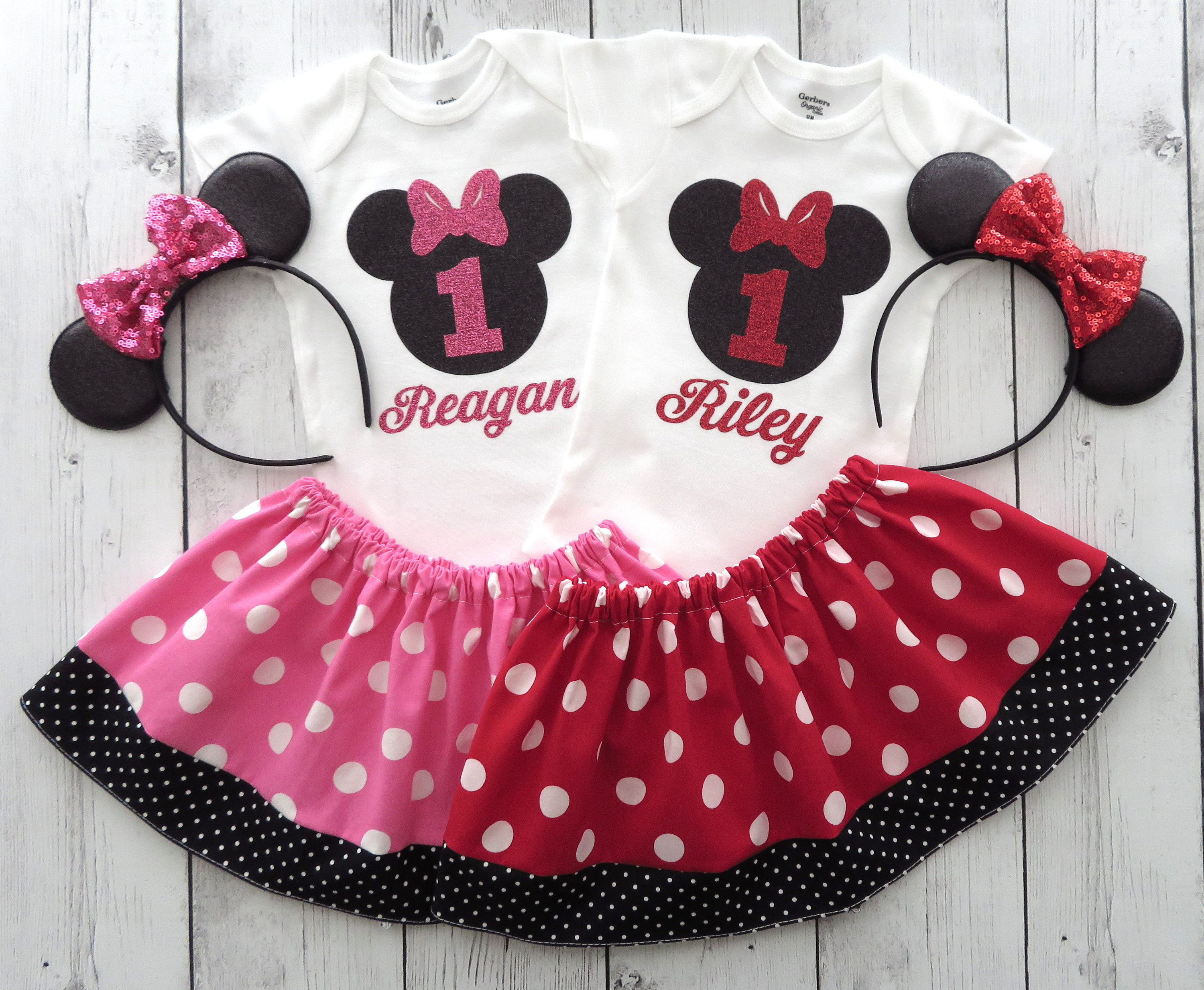 Twin Minnie Mouse First Birthday Outfits - twin girl birthday, twin 1st bday girl, personalized, minnie 1st bday outfit, minnie shoes