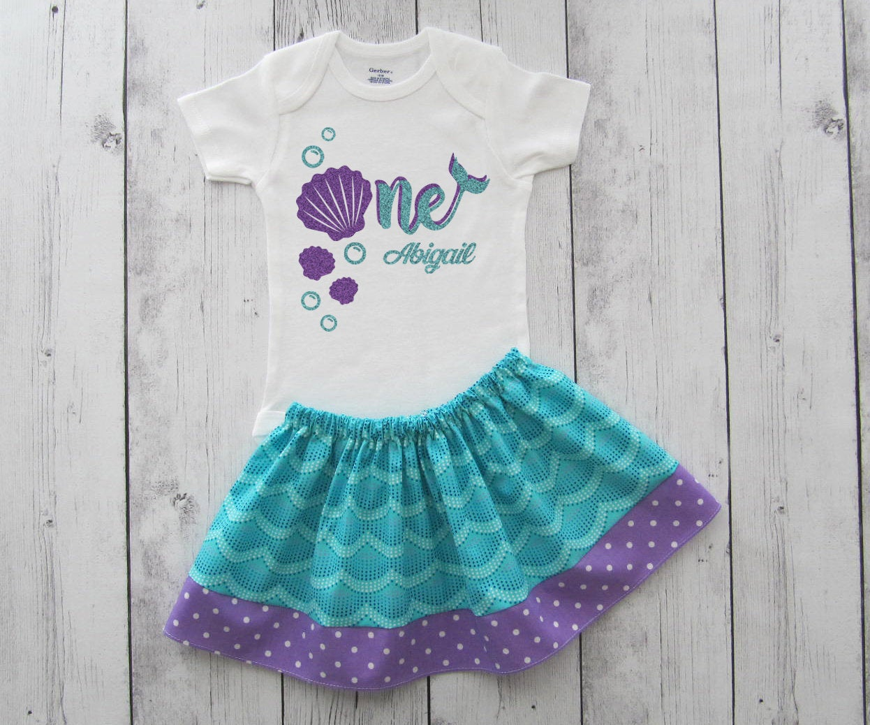 Mermaid First Birthday Outfit in aqua scales and purple polka dots - under the sea, girl birthday, mermaid changing sequins, purple mermaid,