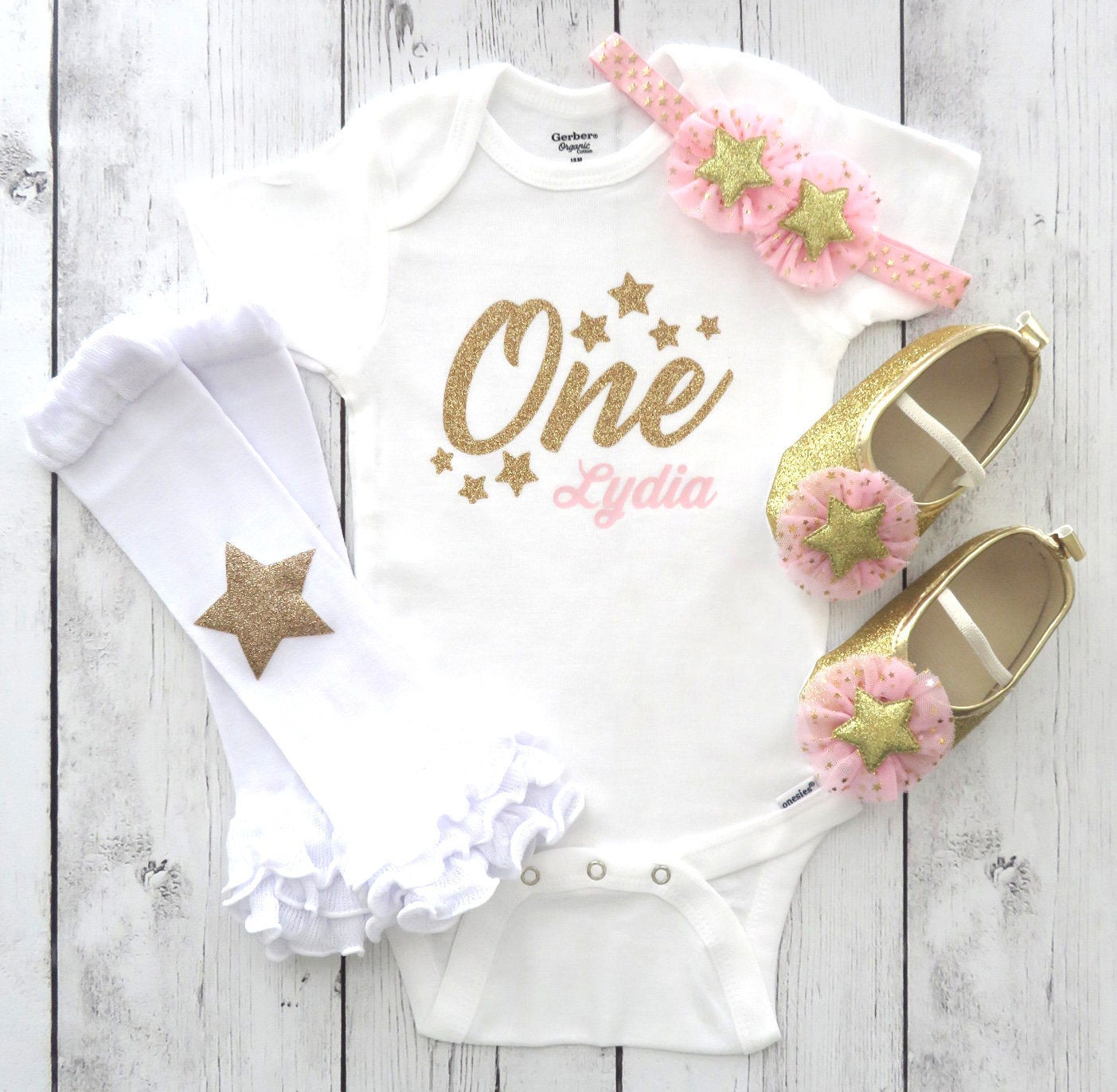 Star First Birthday Onesie - twinkle twinkle little star one year old is what you are, girl first birthday, pink gold, star shoes pink gold