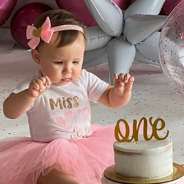 Miss ONEderful Birthday Onesie - 1st birthday shoes, pink and gold 1st birthday, pink and gold hearts birthday, valentines bday girl