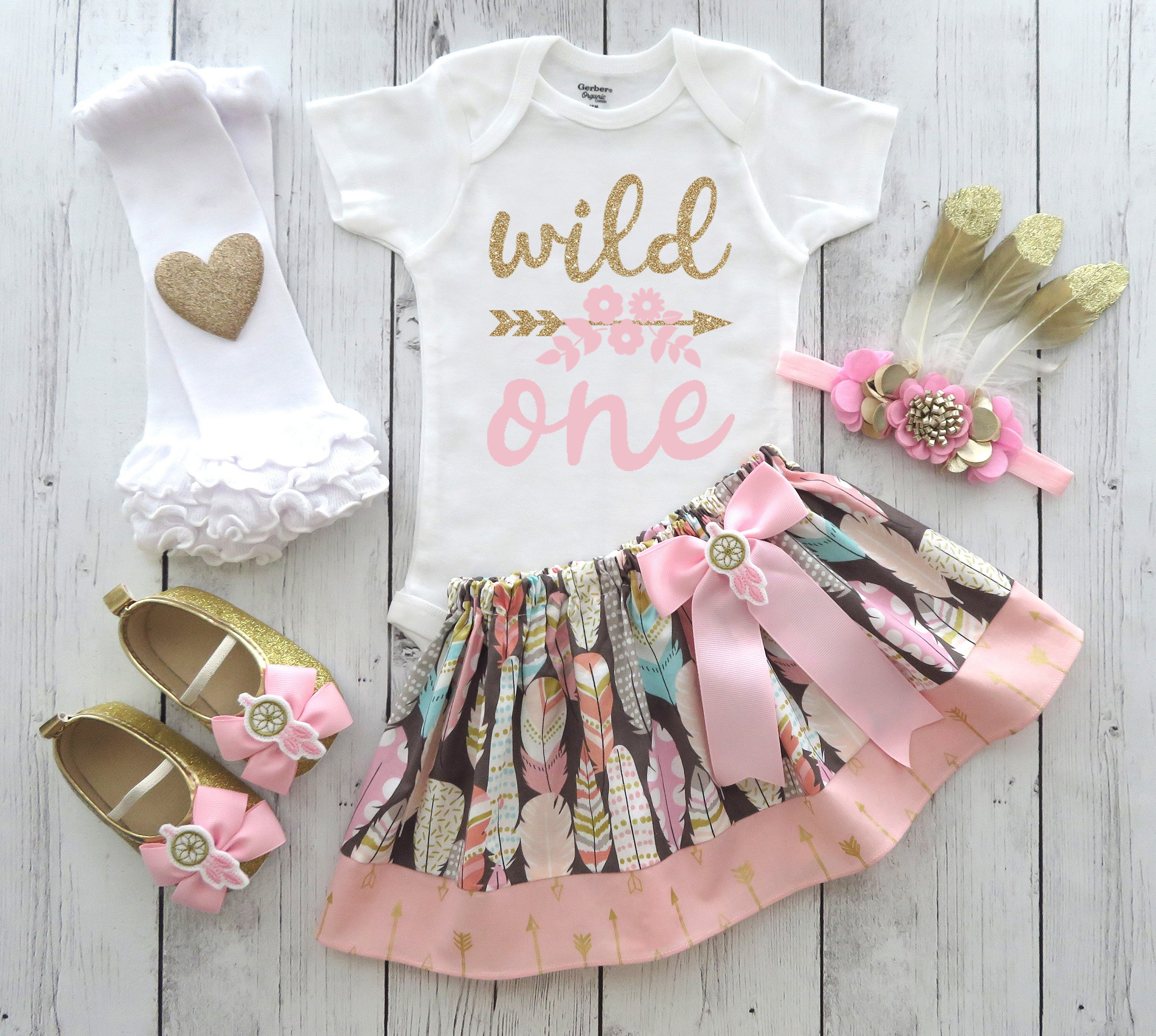 Wild One Birthday Outfit for Girl with mocassins and feather headband - boho chic, wild one 1st bday outfit girl, tribal birthday girl