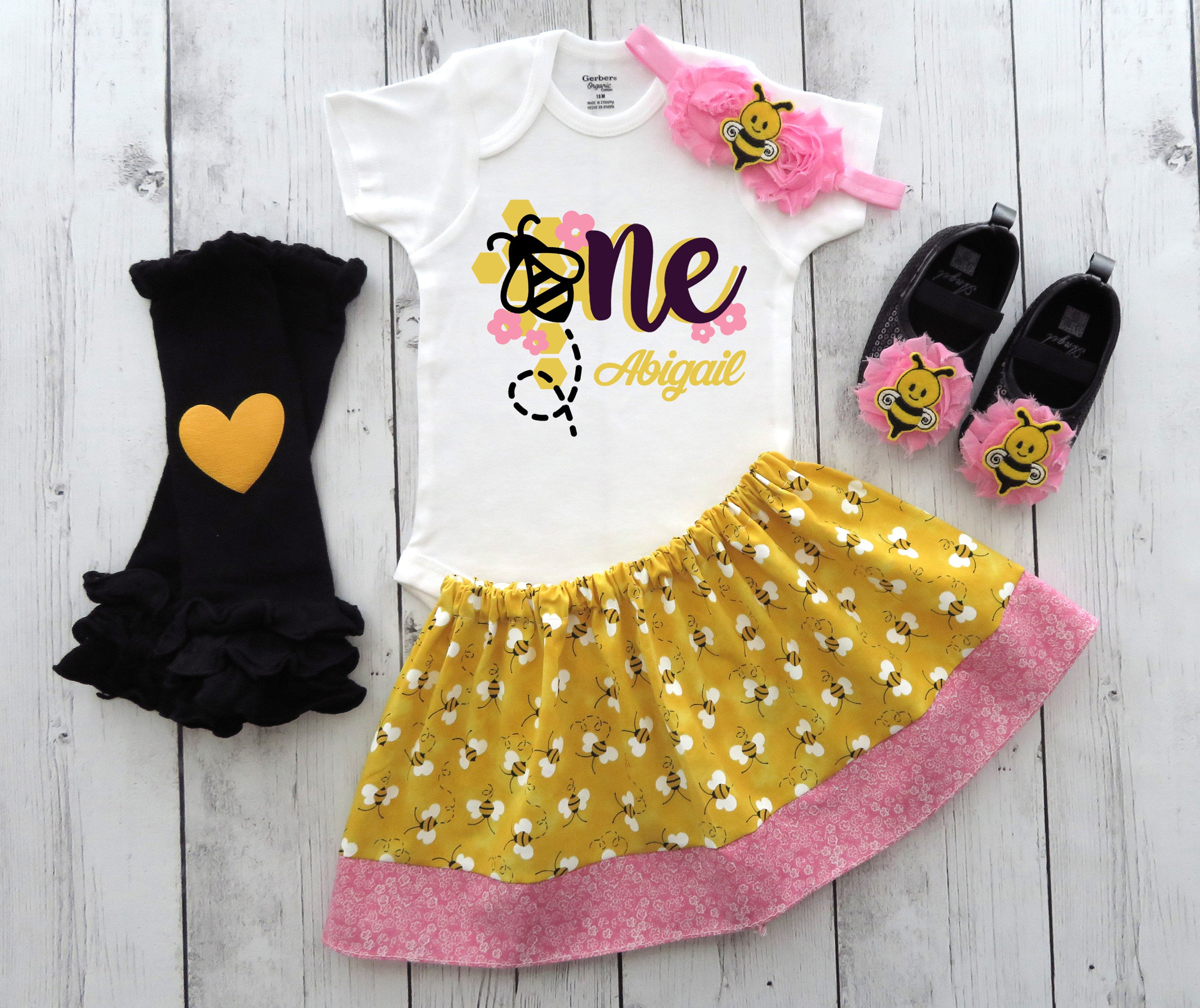 Bee First Birthday Outfit in pink, yellow and black - bee flowers, first bee day, fun to bee one, 1st bday outfit girl, bee outfit girl