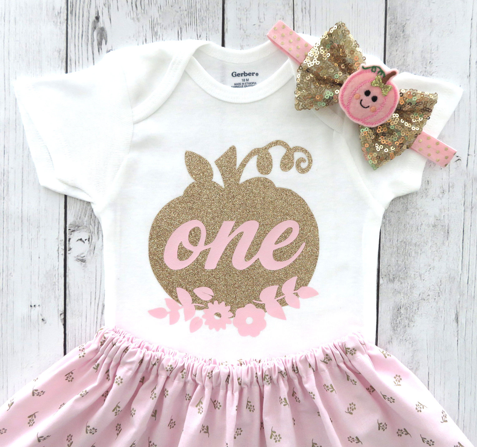 Pumpkin First Birthday Outfit for Baby Girl in Pink and Gold Floral - 1st birthday dress pumpkin, fall birthday, our little pumpkin is one