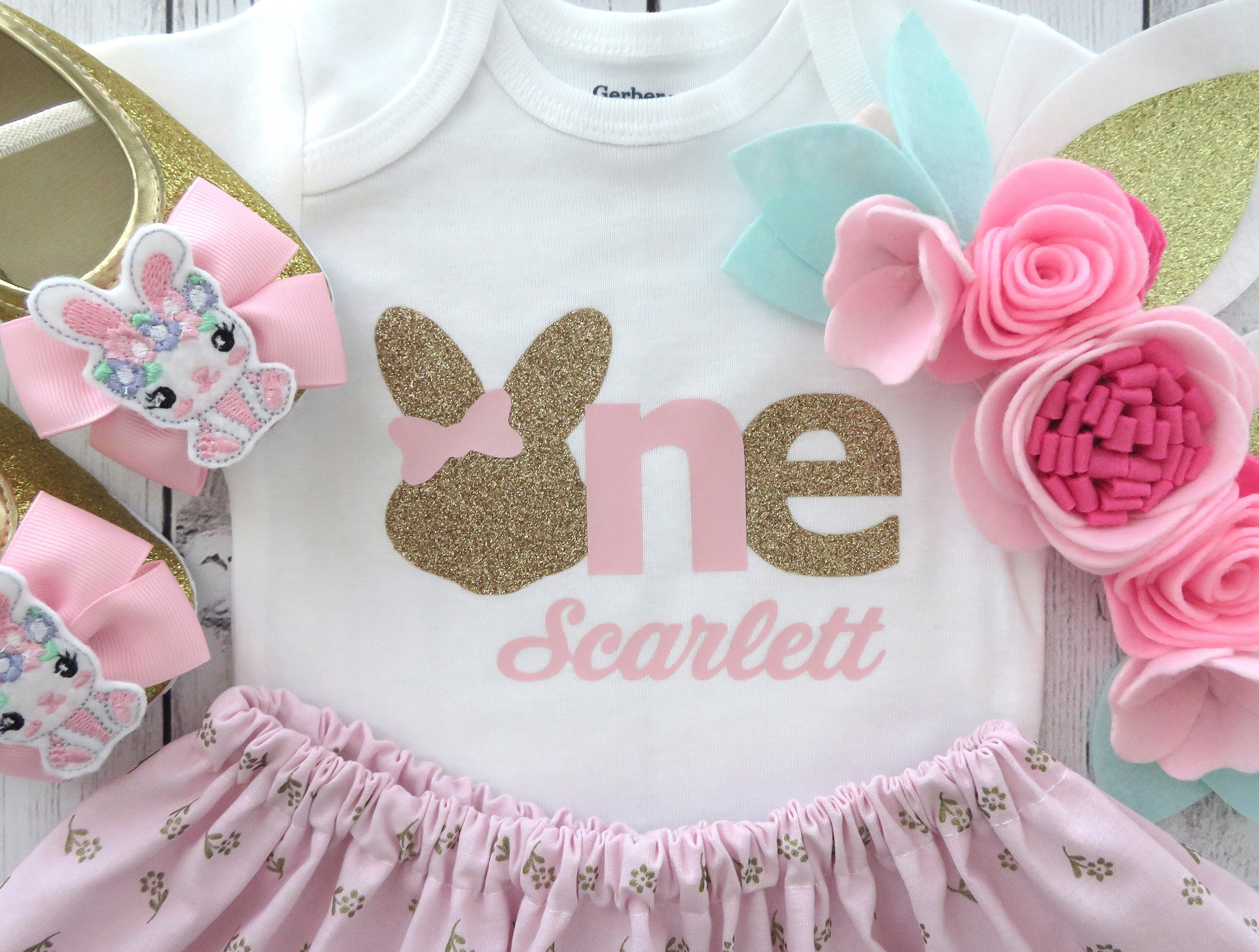 Bunny 1st Birthday Outfit in pink and gold floral - some bunny is one, bunny 1st bday outfit, bunny ears headband, bunny shoes, first bday