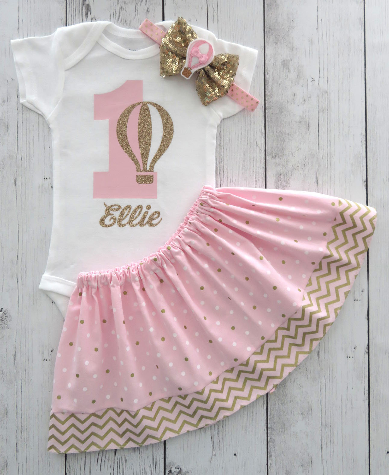 Hot Air Balloon First Birthday Outfit in Pink and Gold - girl 1st birthday outfit, hot air balloon birthday party, 1st bday outfit girl