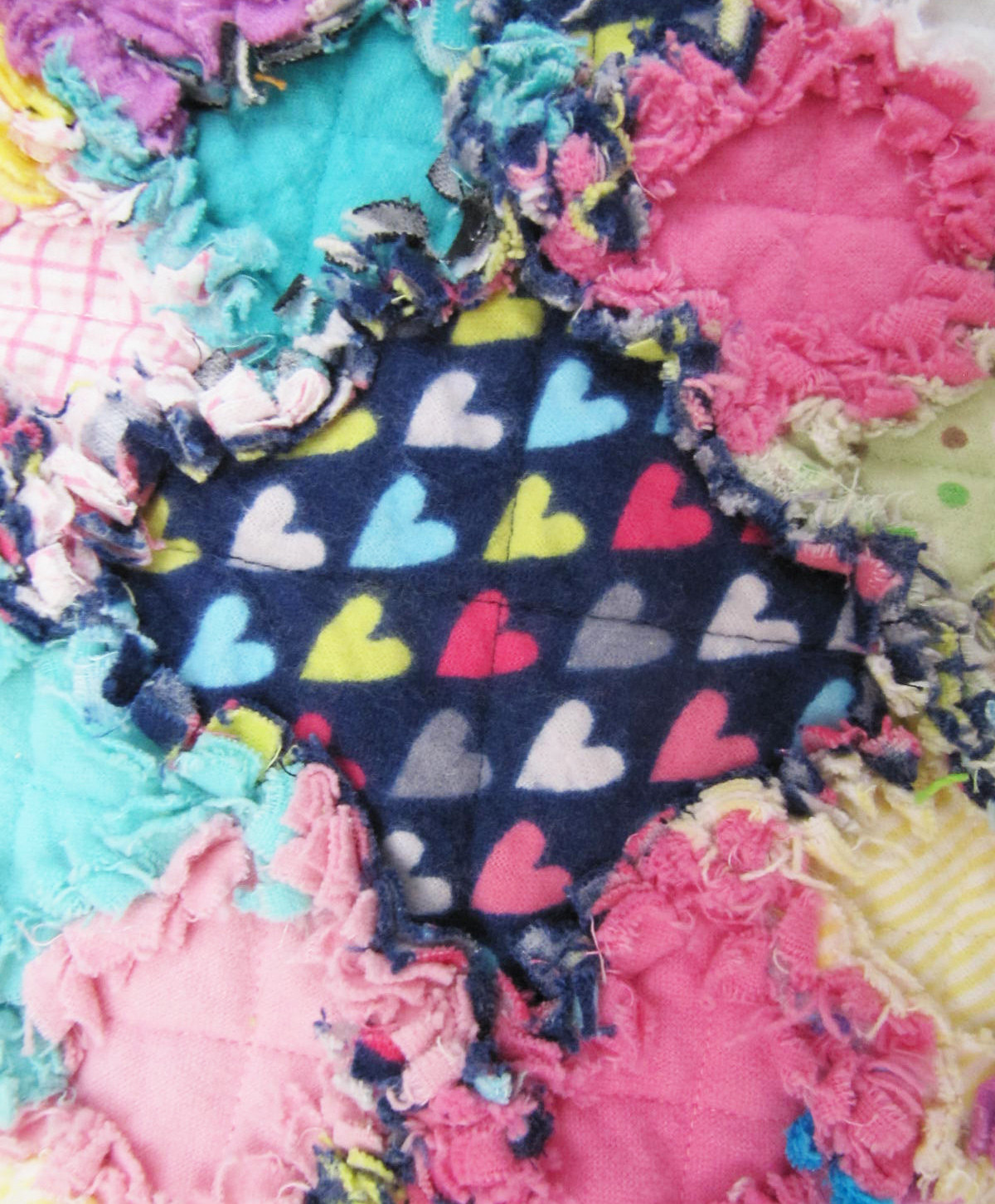 Hearts Baby Girl Crib Size Rag Quilt - navy hearts, mulit colored, unique, hand made