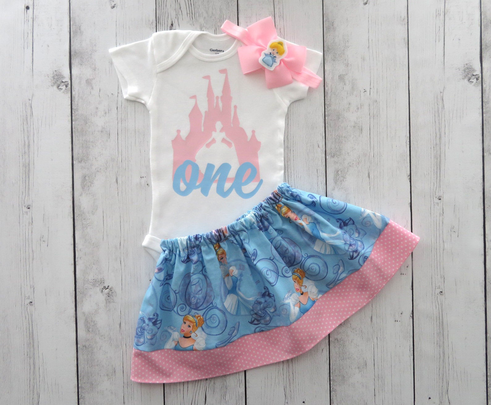 Cinderella First Birthday Outfit for baby girl in pink and blue - cinderella birthday dress, pink blue princess birthday