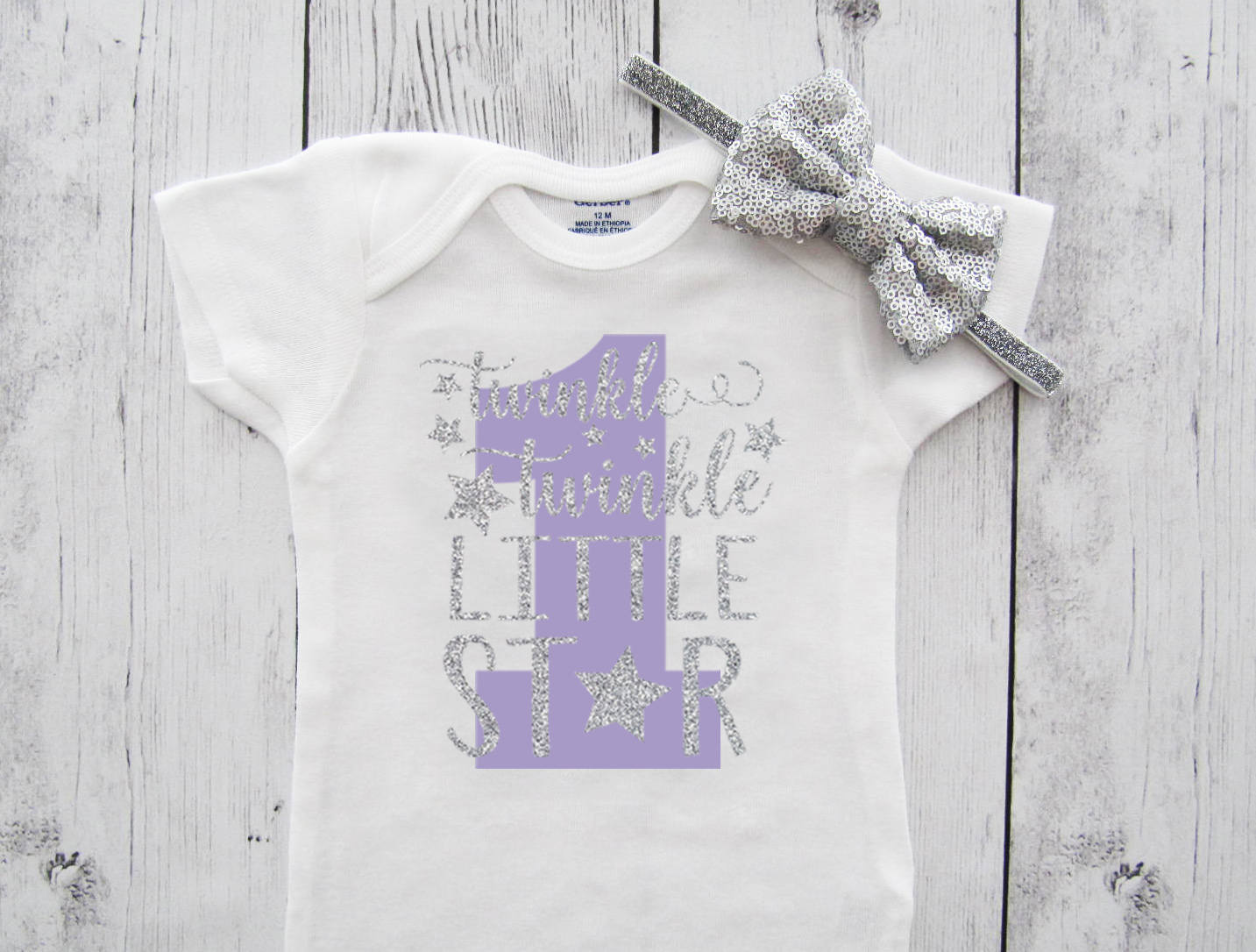 Twinkle Twinkle Little Star First Birthday Onesie in purple and silver glitter - girl birthday, lavender silver, star 1 birthday