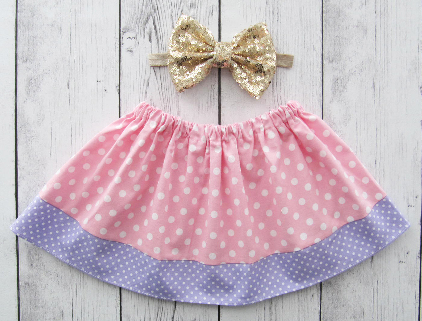 Pink and Purple Dot Skirt for baby girl - pink purple skirt, polka dot skirt, baby girl skirt, purple pink skirt, pink polka dot skirt