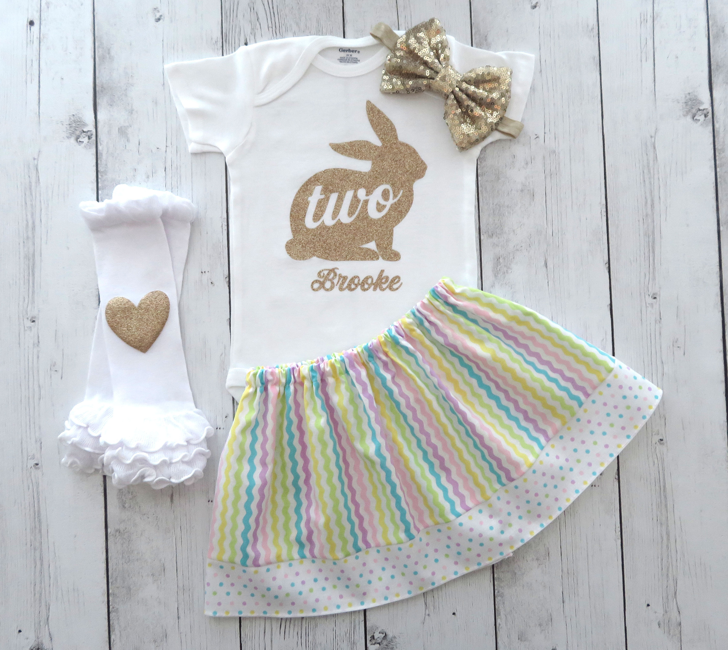 Two Bunny Second Birthday Outfit in pastel colors - baby girl second birthday outfit, some bunny is two, birthday dress, easter birthday