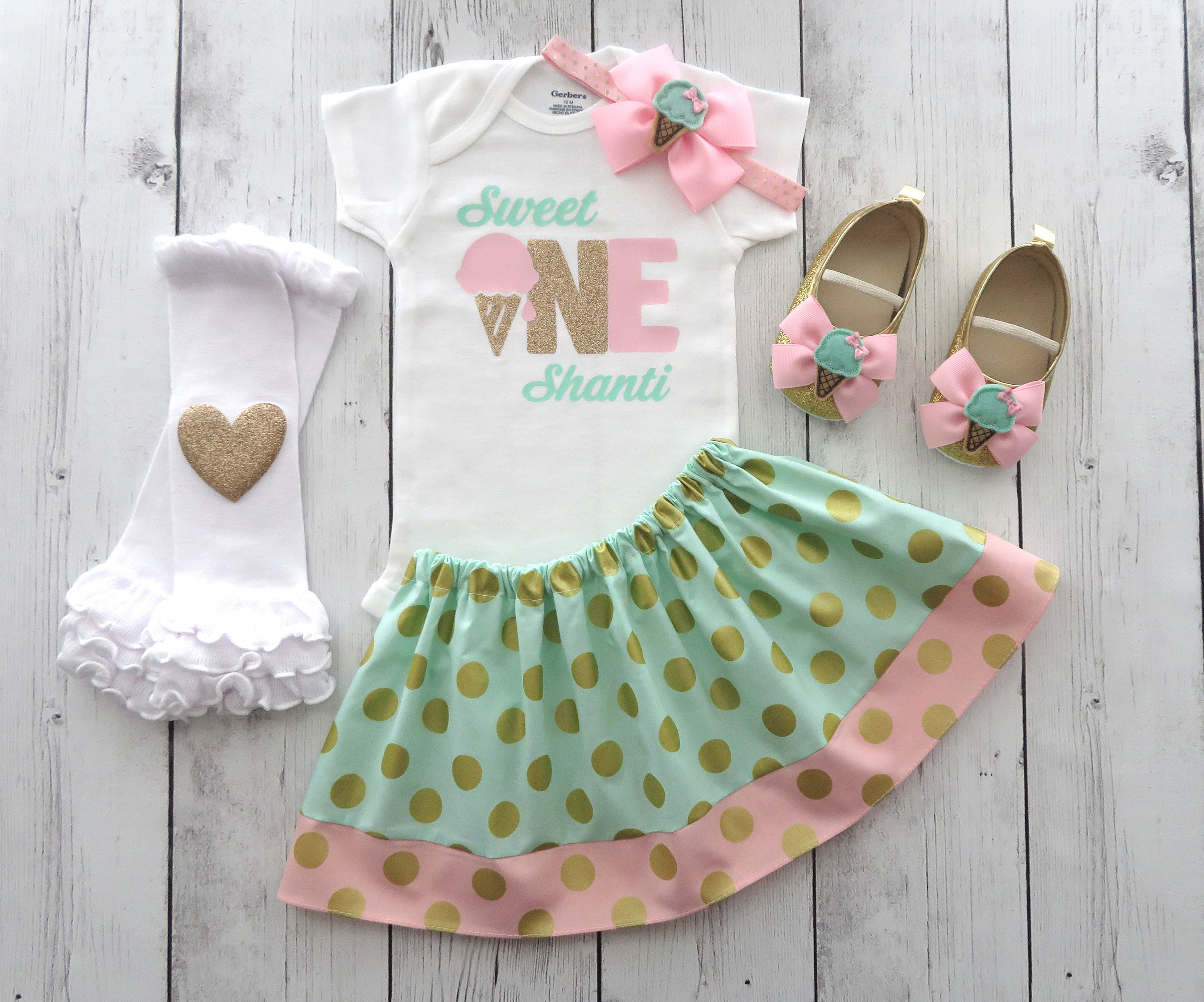 Sweet One First Birthday Outfit in pink, mint and gold - personalized outfit, ice cream birthday girl, summer birthday, ice cream shoes