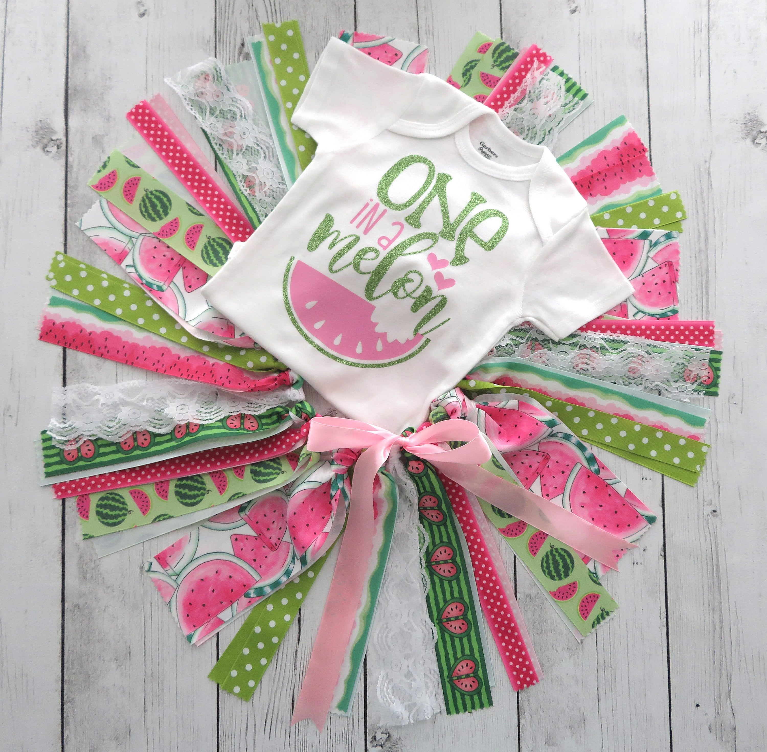 One in a Melon First Birthday Outfit with Tutu, Headband and Shoes in pink and lime - watermelon first birthday outfit, summer 1st birthday