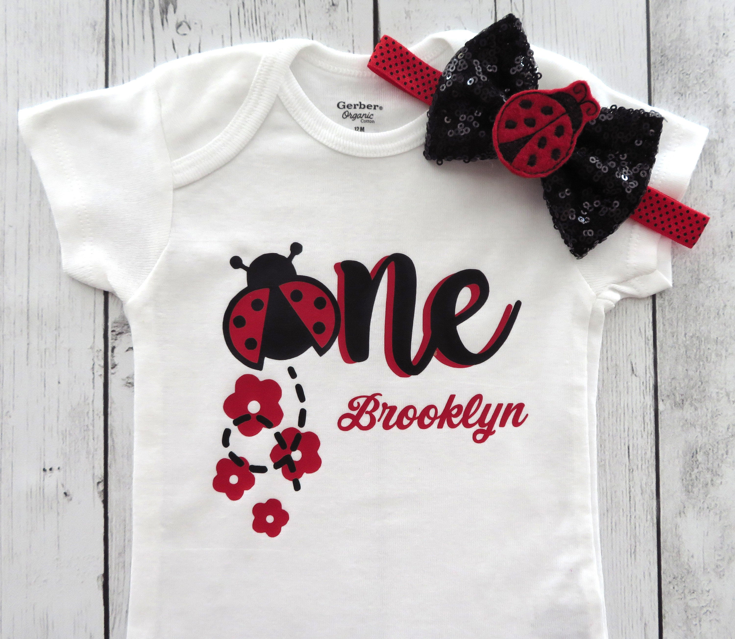 Ladybug First Birthday Onesie in red and black - 1st birthday outfit girl, ladybug one, ladybug birthday party, ladybug shoes, 1st bday girl