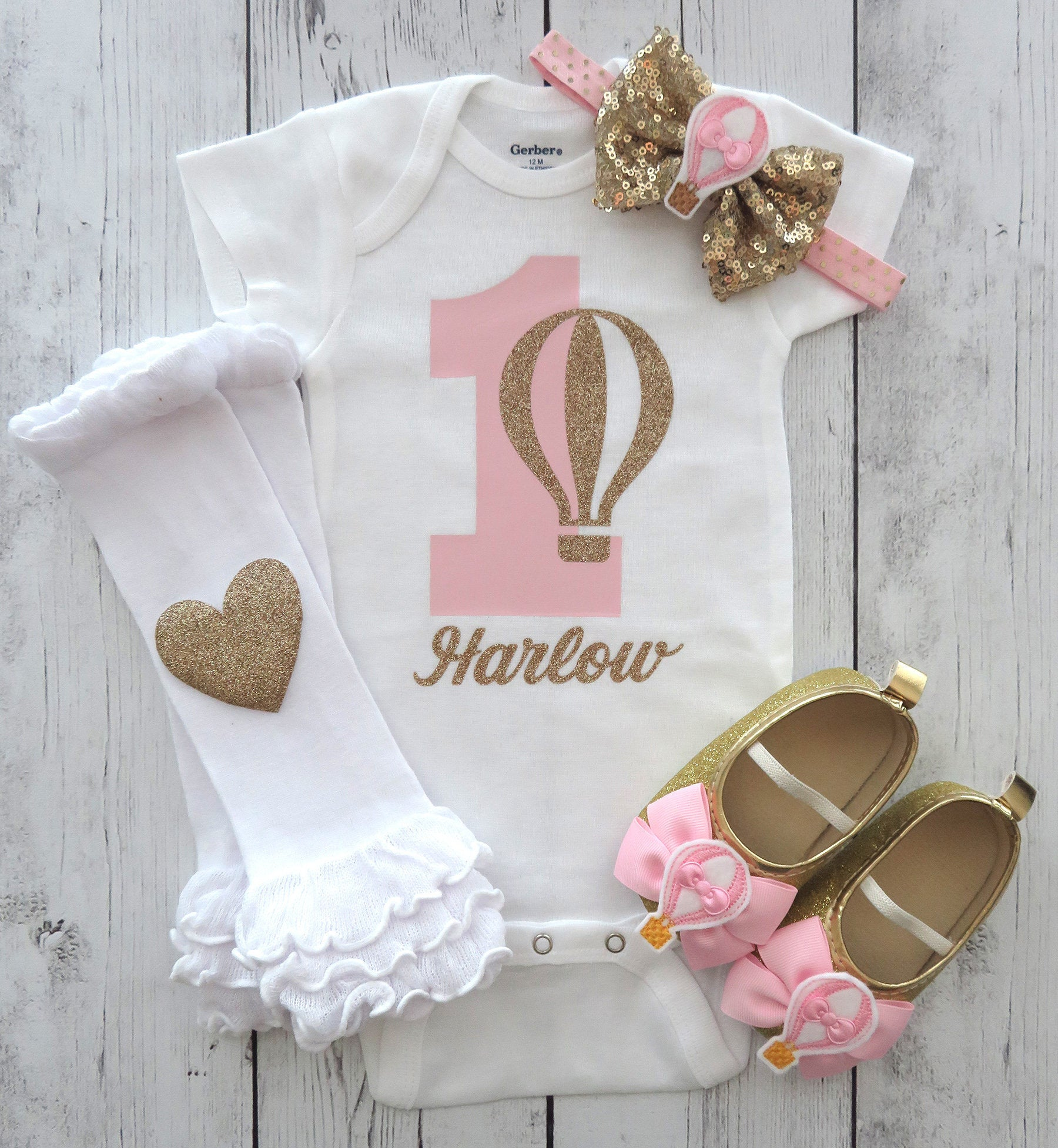 Hot Air Balloon First Birthday Onesie in pink and gold - girl first birthday shirt, hot air balloon shoes, pink and gold 1st bday girl