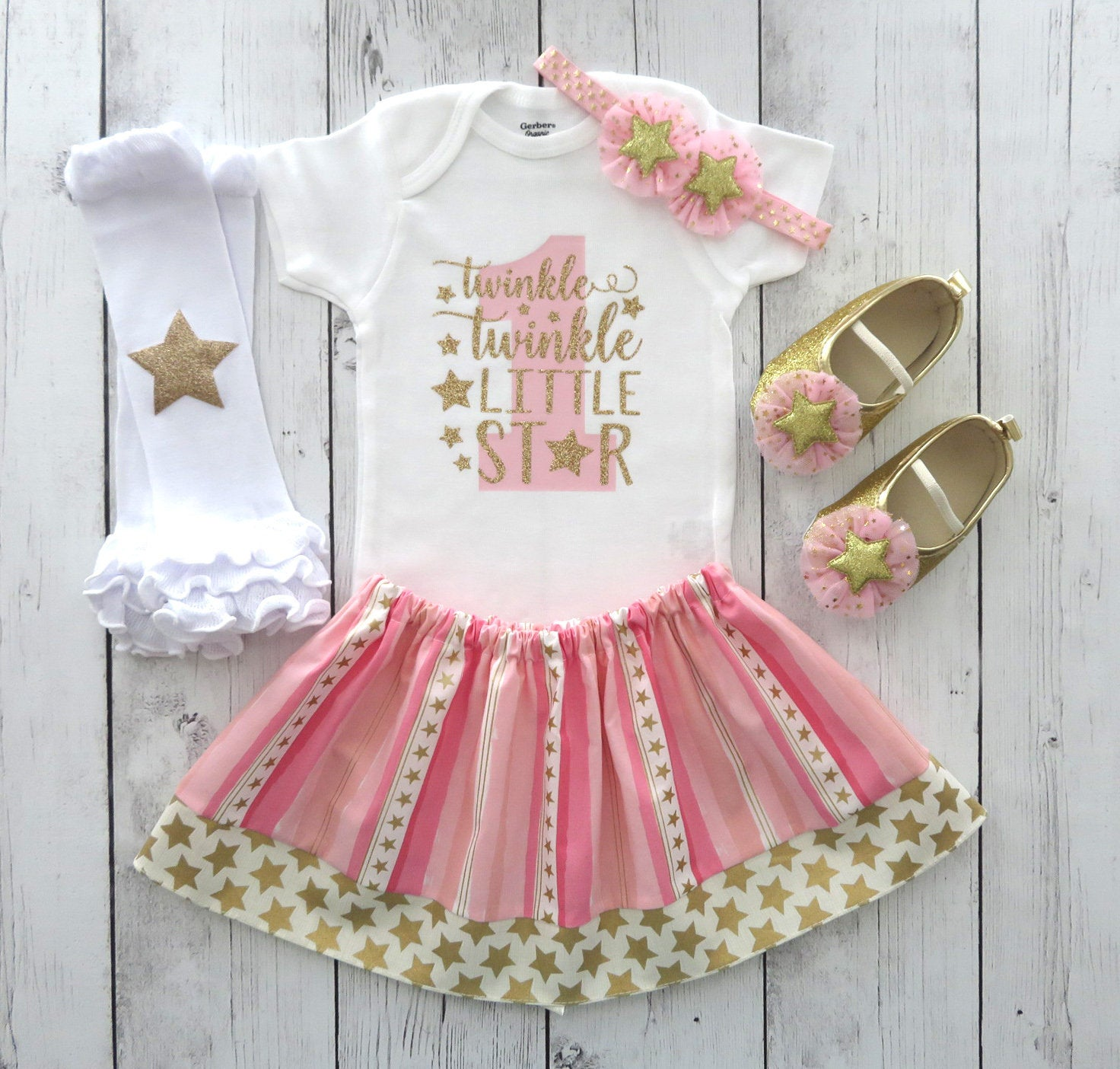 Twinkle Twinkle Little Star First Birthday Outfit in Pink and Gold - gold star shoes, 1st birthday girl pink and gold