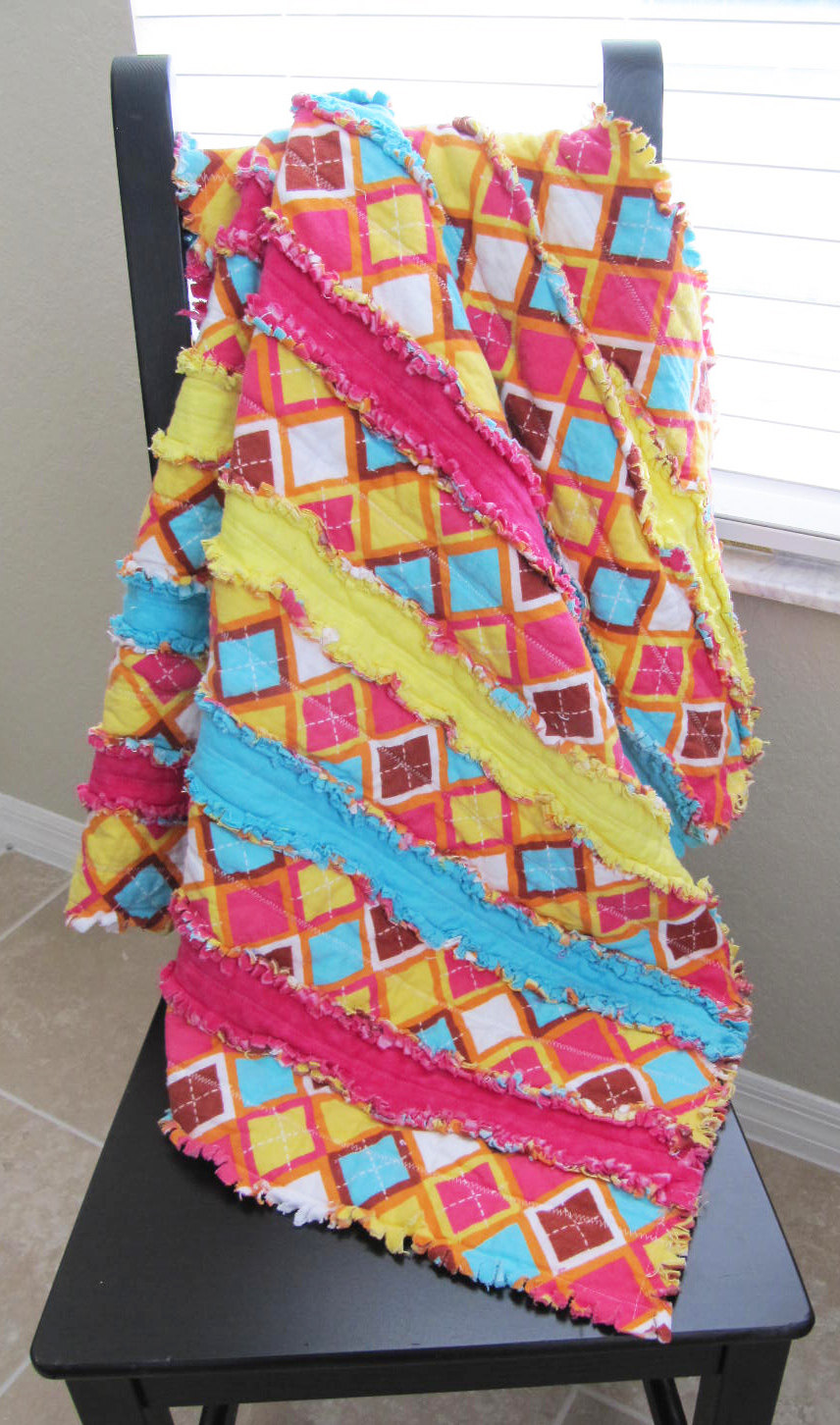 Hot Pink, Yellow and Aqua Rag Quilt - baby girl, rag quilt, modern, pink and yellow, argyle, jelly roll rag quilt