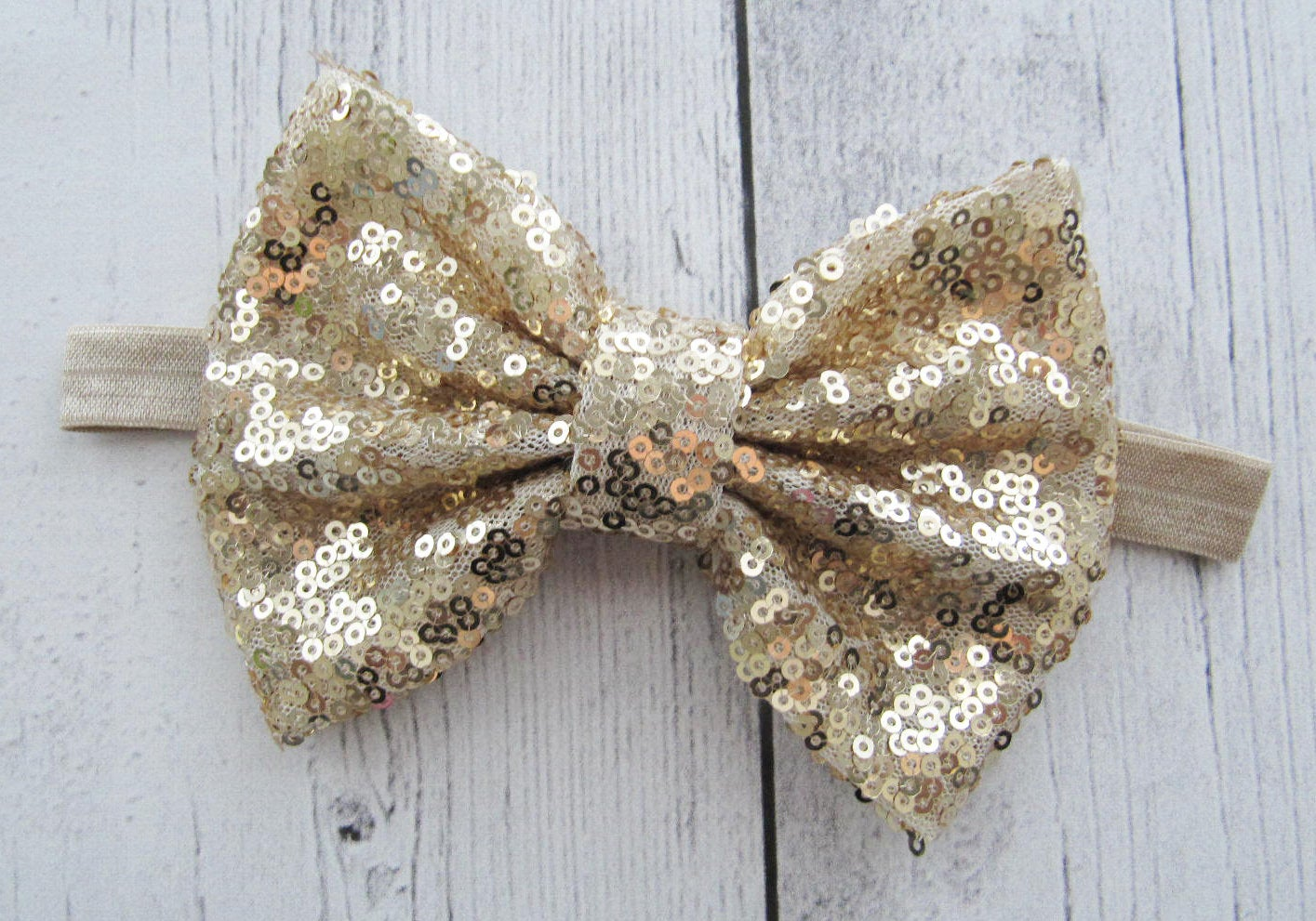 Baby Girl Headband - gold sparkly bow, large bow headband, gold glitter, baby girl bow
