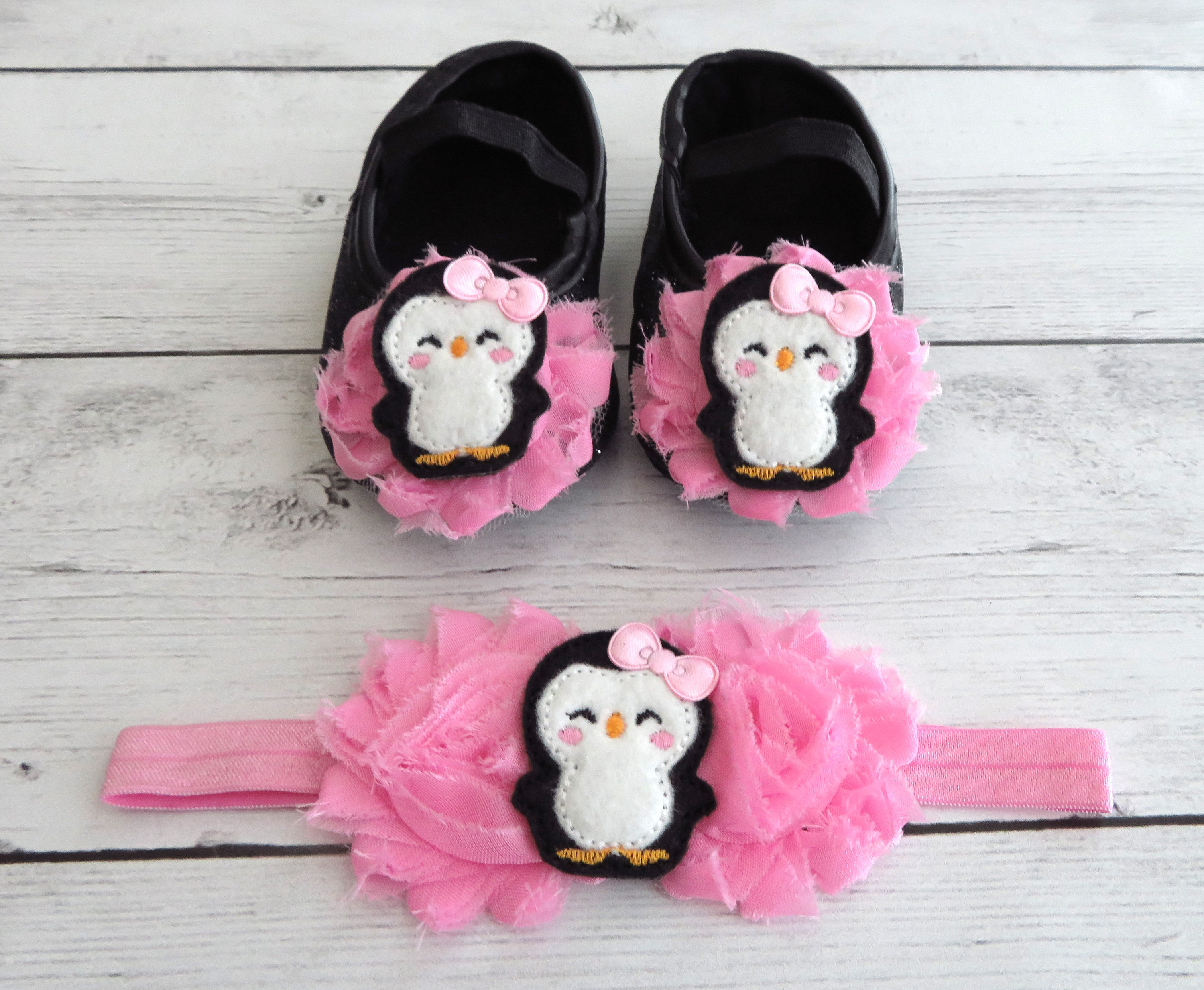 Penguin First Birthday Shoes & Headband for Girl in medium pink -  winter first birthday, penguin girl, pink first birthday shoes girl