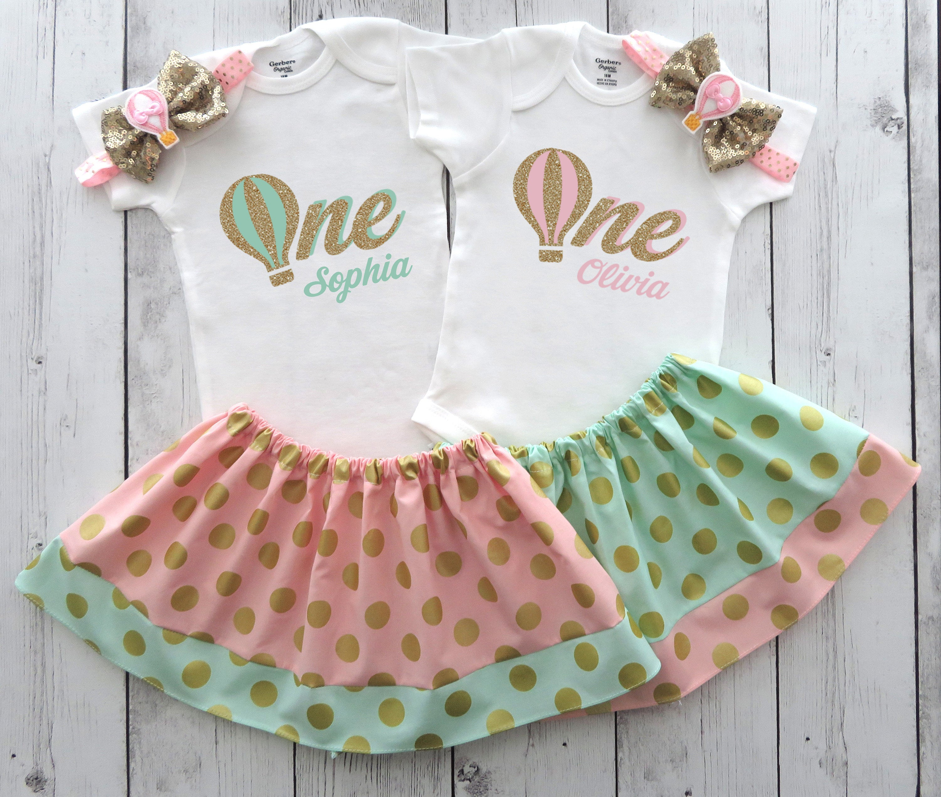 Twins First Birthday Outfits in Hot Air Balloon Theme - mint pink and gold, twins birthday outfits, cake smash, hot air balloon twins