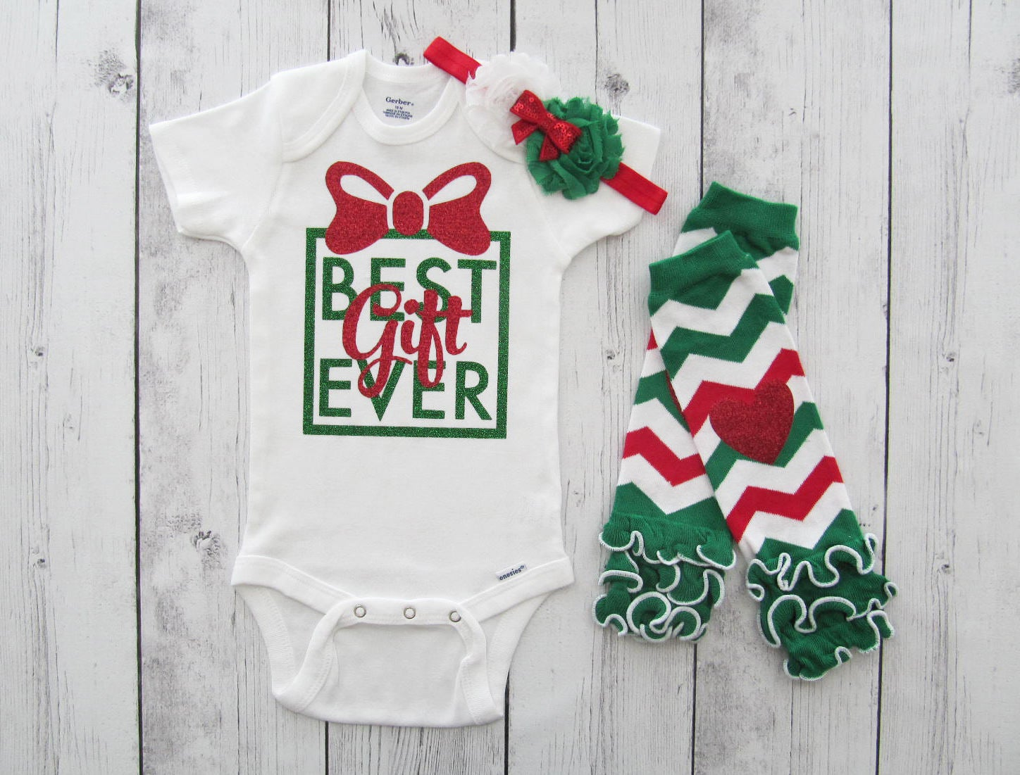 Best Gift Ever Onesie - baby girl christmas shirt, my first christmas, first christmas tree, red green, best gift ever baby girl