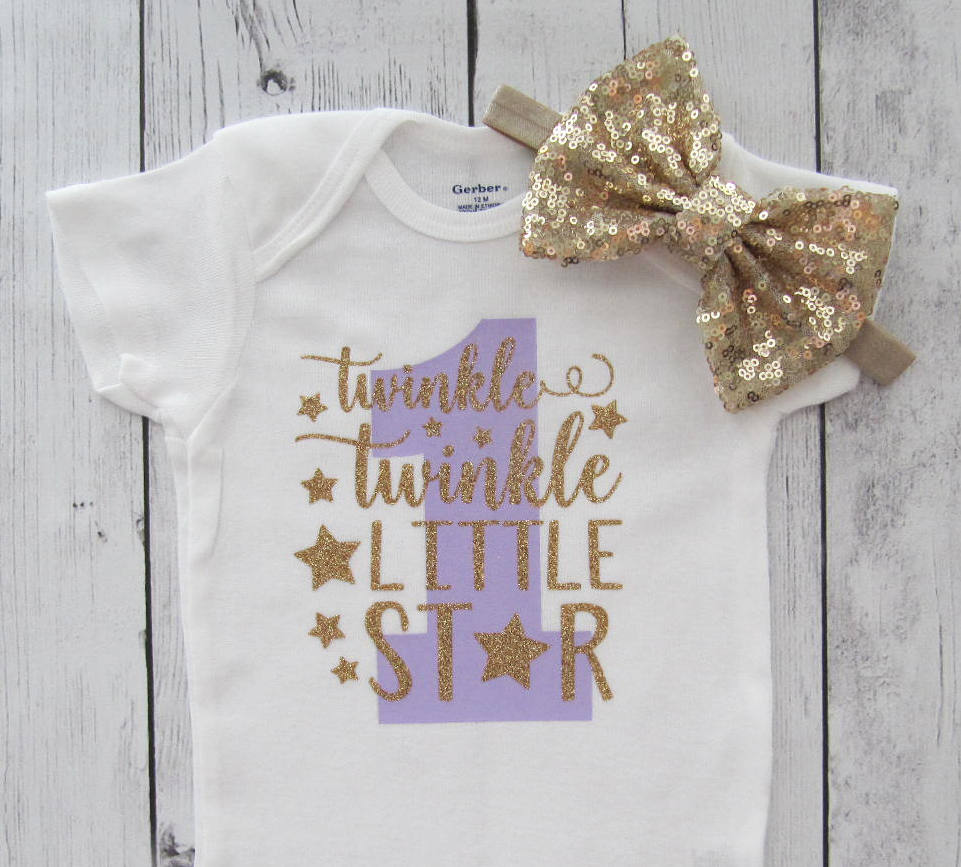 Twinkle Twinkle Little Star First Birthday Onesie in purple and gold- girl birthday, lavender gold, star one birthday, star headband
