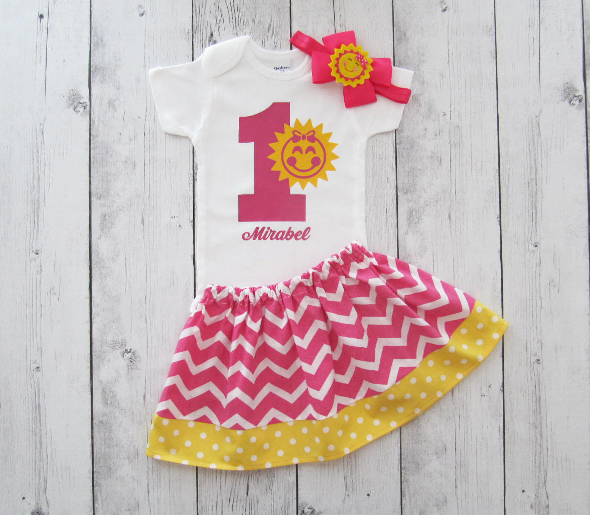 Sunshine First Birthday Outfit for baby girl - you are my sunshine, hot pink yellow, sunshine birthday outfit girl, sunshine birthday girl
