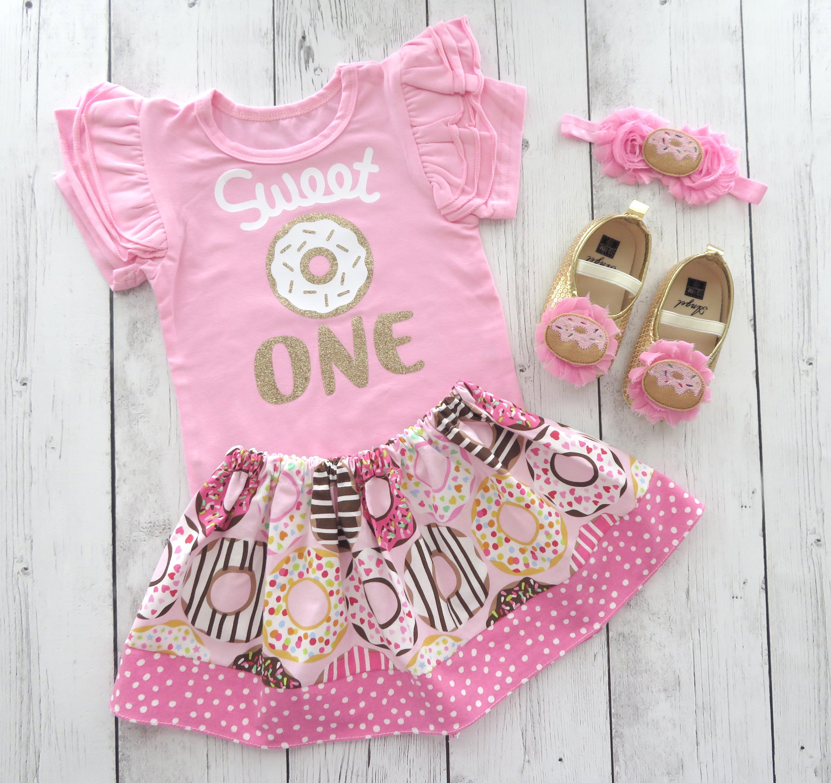 Donut First Birthday Outfit for Girl in Pink and Gold - Sweet One Birthday, Donut Grow Up, Donut 1st bday girl, donut shoes, pink donut bday
