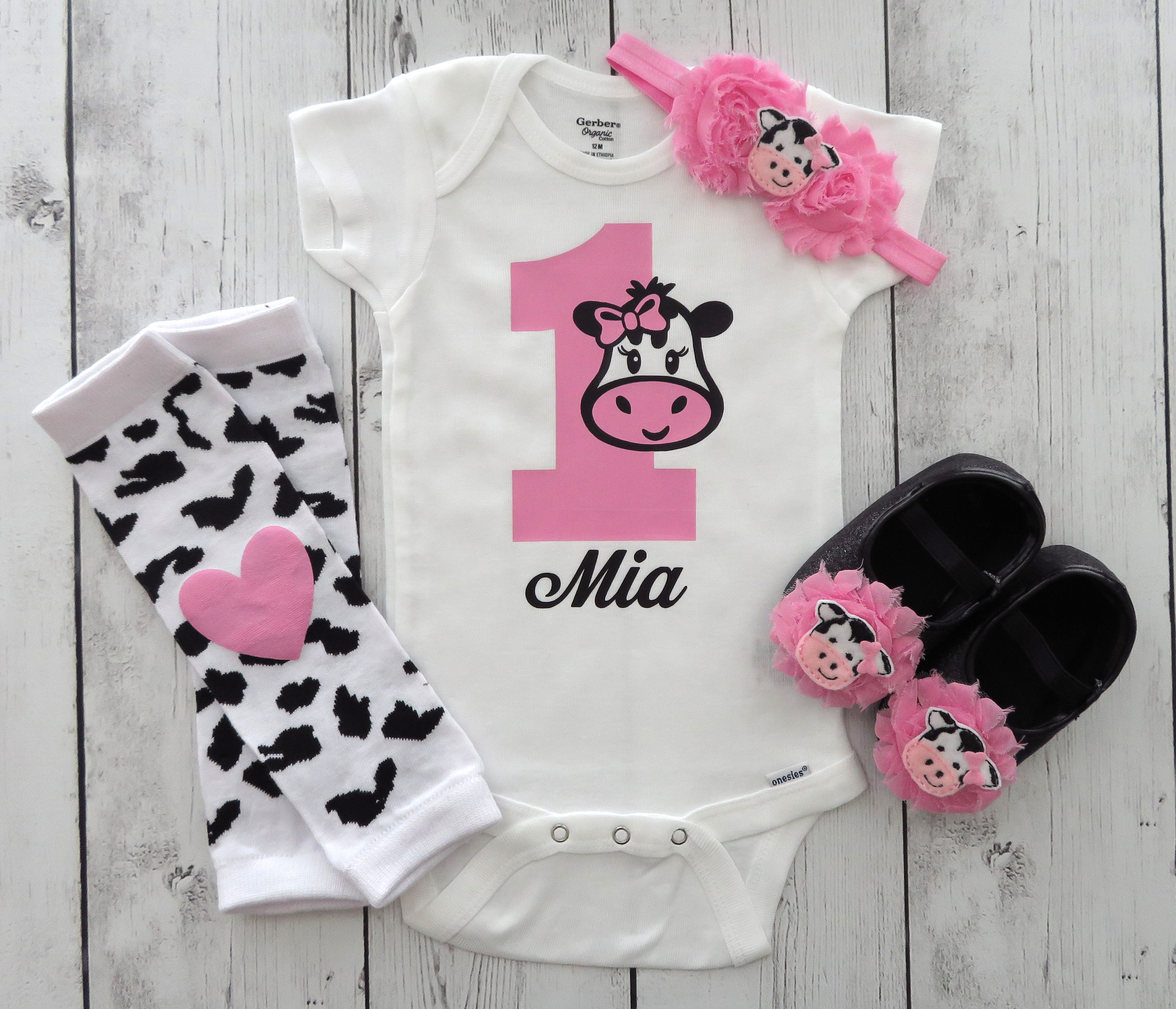 Cow 1 Birthday Onesie - barnyard first birthday outfit, cow first birthday girl, cow 1 oneise, pink cow birthday girl, farm animal birthday