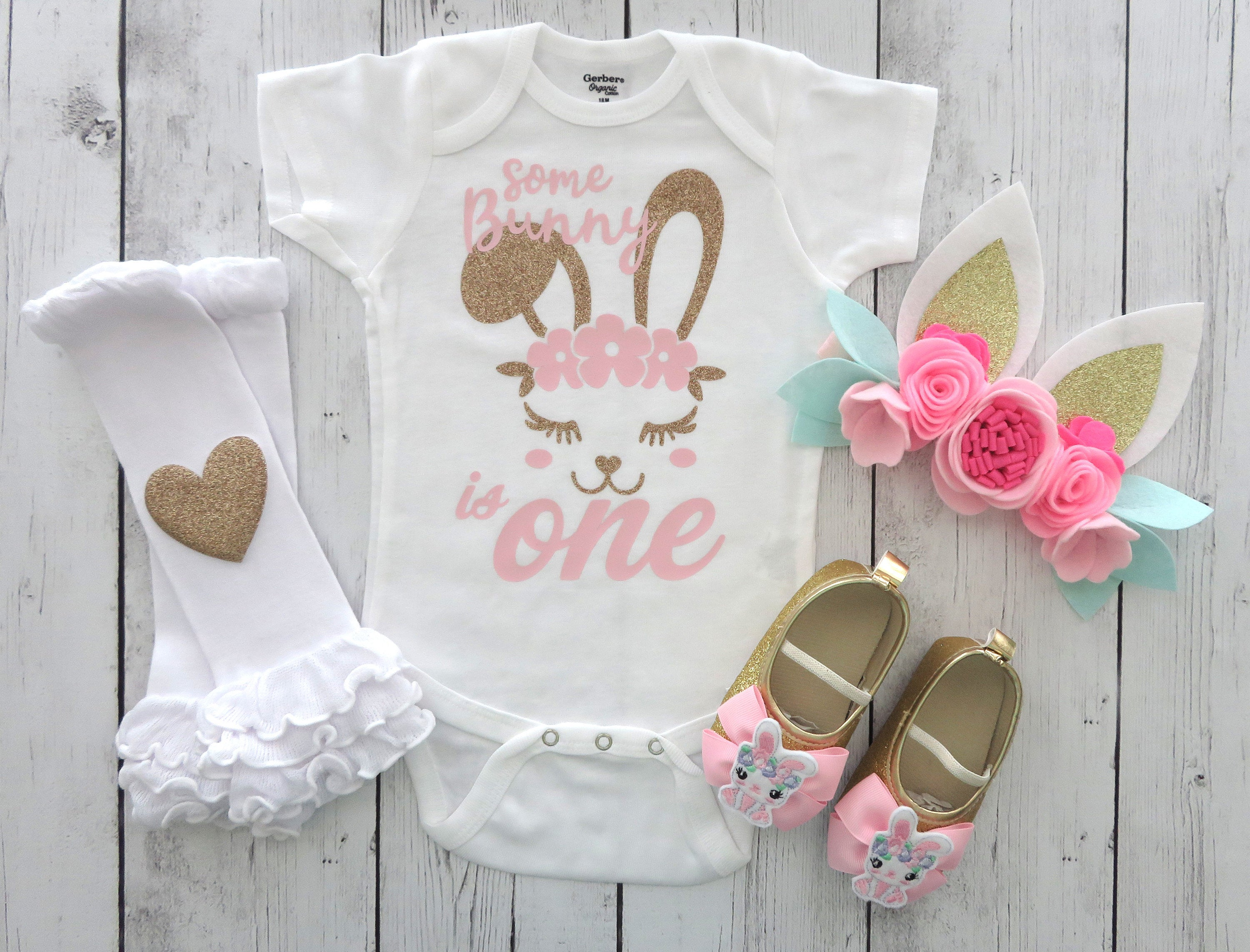 Some Bunny is One Birthday Onesie in pink and gold- bunny 1st bday outfit, bunny ear headband, bunny shoes, bunny birthday outfit girl