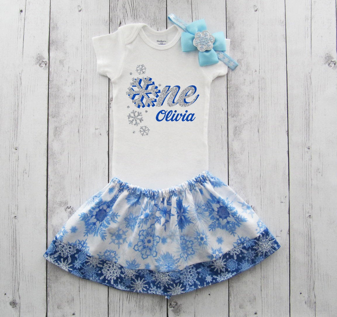 Winter ONEderland Snowflake First Birthday Outfit - onesie and skirt, girl birthday, cake smash, winter, frozen, blue snowflakes,