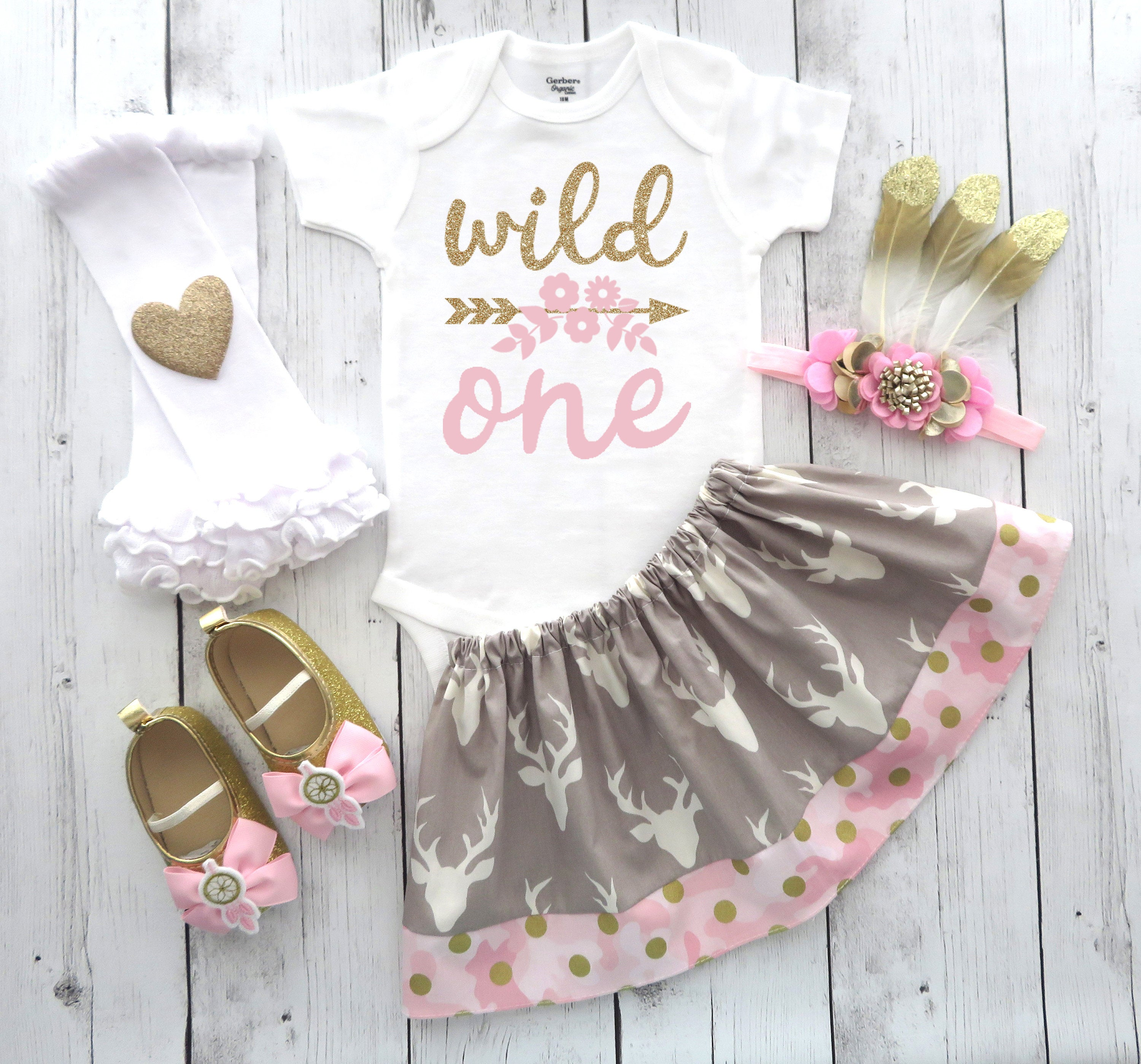 Deer First Birthday Outfit in Pink and Gold Glamo - deer camo dress, wild one birthday outfit, feather headband, tribal, woodland creatures