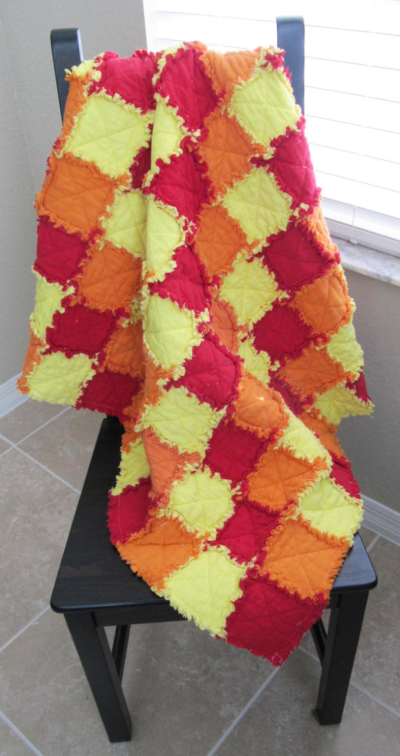 SALE - Newborn Baby Fall/Harvest Photo Prop - rag quilt, red orange yellow, checkered,