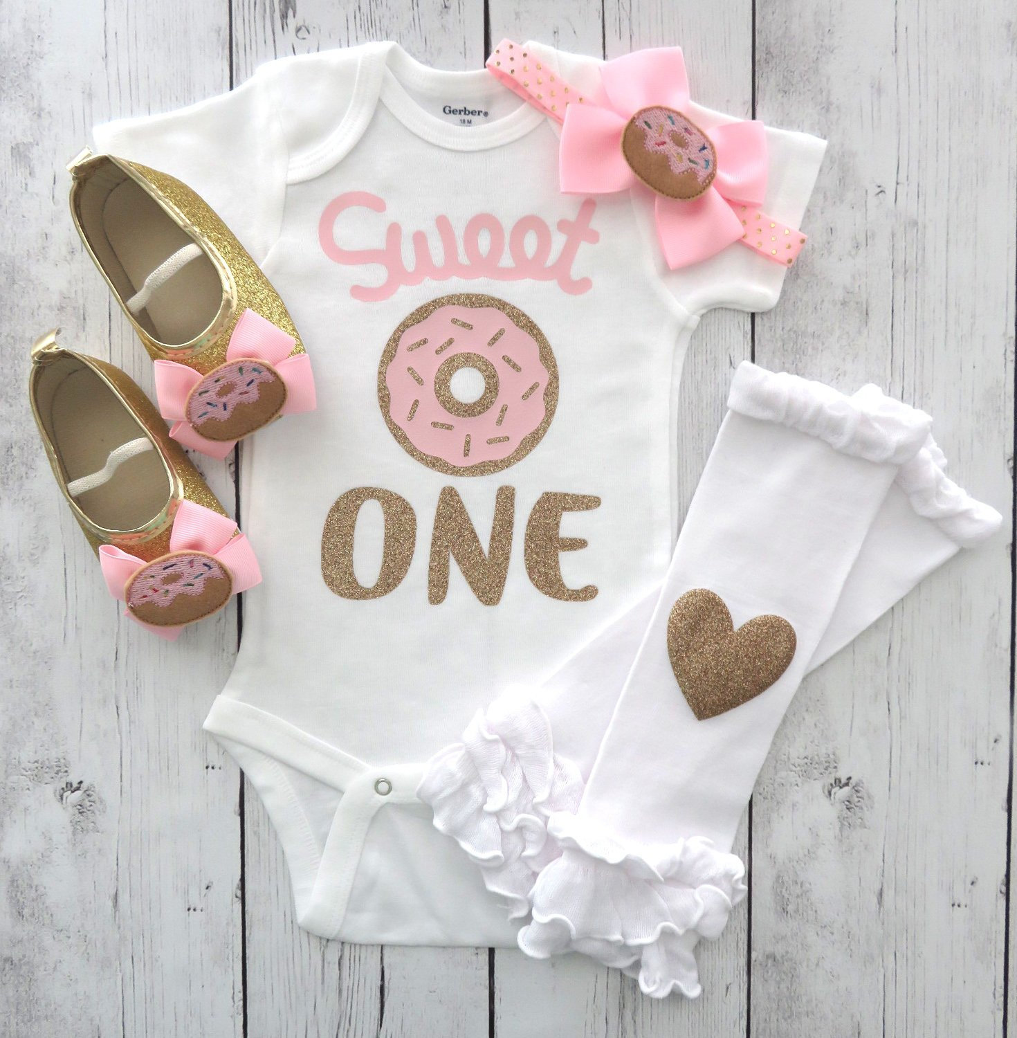 Sweet One Donut First Birthday Onesie -pink gold mint, doughnut 1st birthday, sweet one birthday outfit, donut headband, donut birthday girl