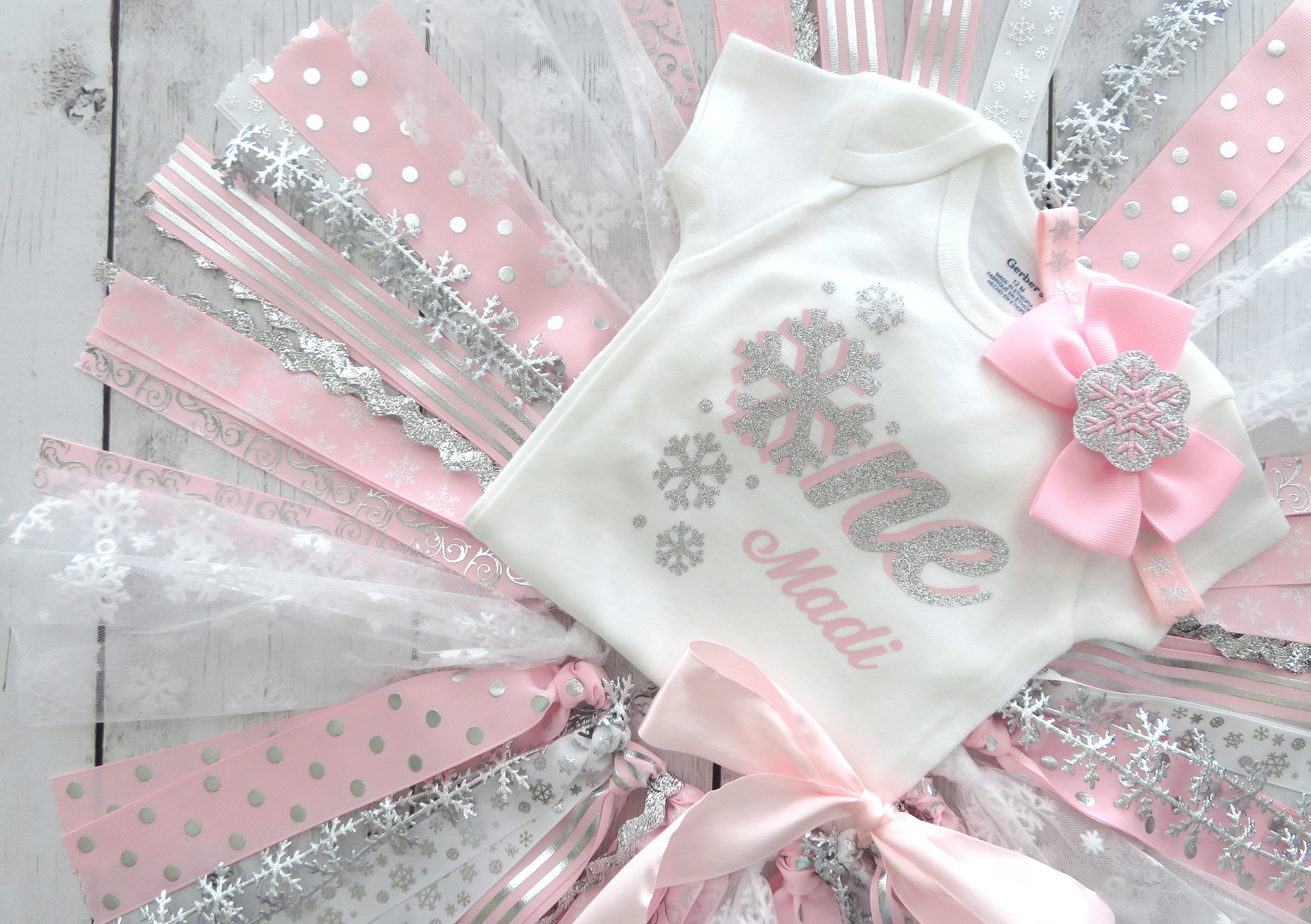 Snowflake First Birthday Outfit with Fabric Tutu in light pink and silver - winter ONEderland birthday party, 1st bday outfit