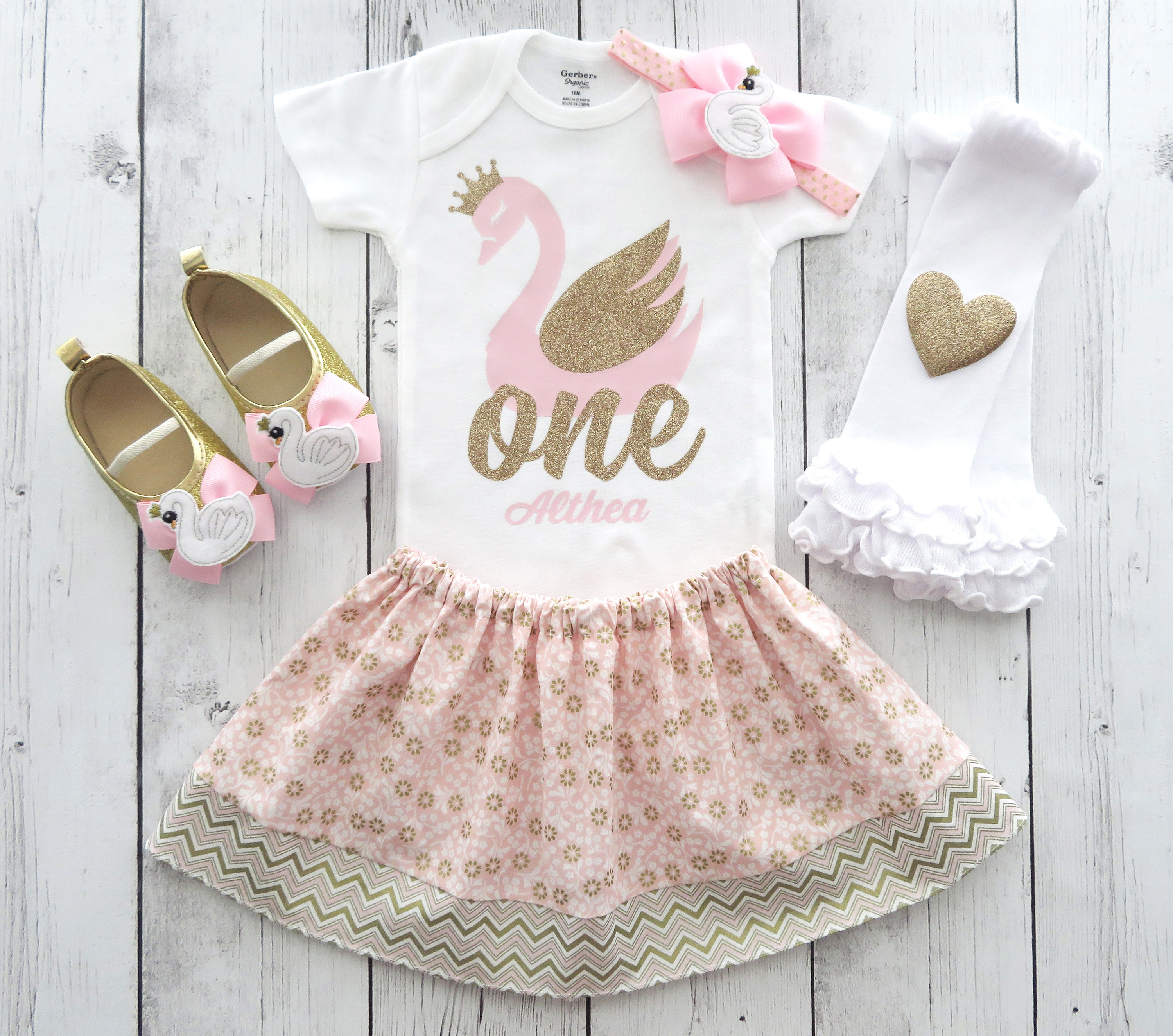 Swan First Birthday Outfit for girl in pink and gold - swan soiree, personalized, swan lake, swan 1st birthday outfit girl, swan lake bday