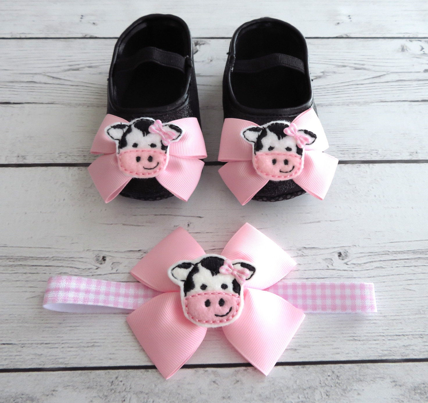 Cow First Birthday Shoes & Headband for Girl in light pink -  barnyard first birthday, farm animal girl, pink first birthday shoes girl