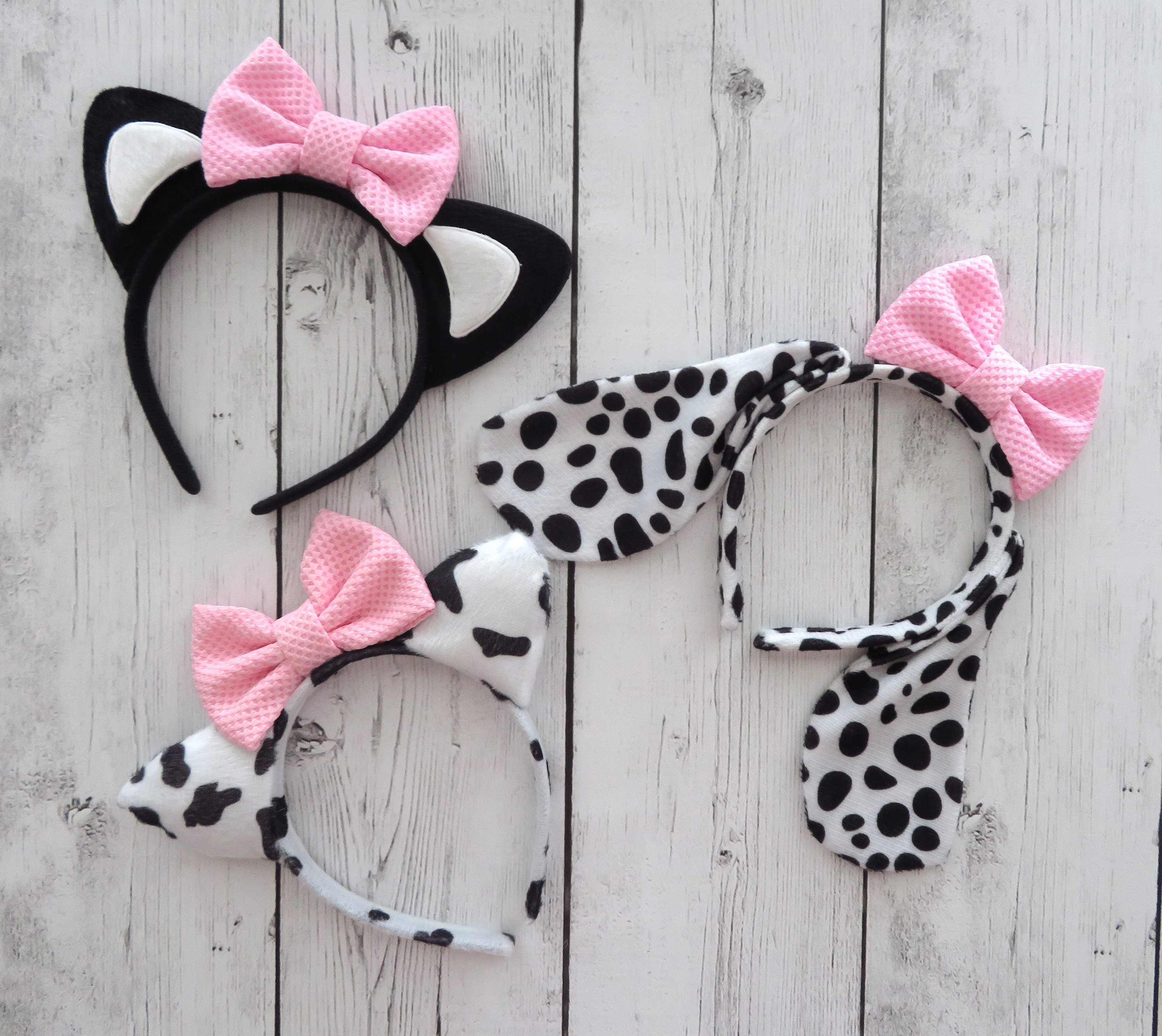 Halloween Costume Ears - cat ears, cow ears, dog ears, dalmation ears, halloween costume headband, cow costume, cat costume, dog costume