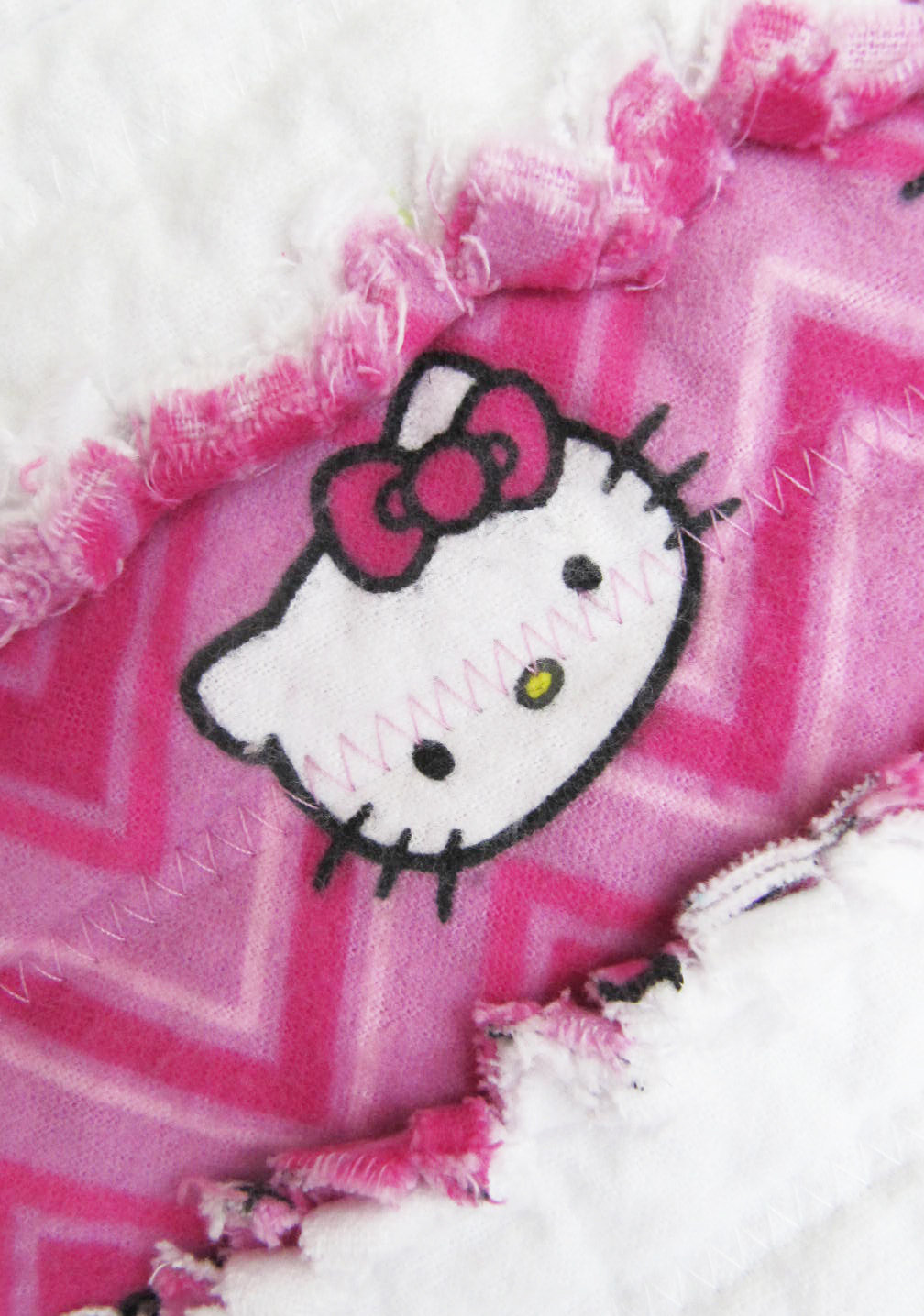 Hello Kitty Baby Quilt for Baby Girl in pink and white - baby girl blanket, crib/nursery rag quilt, jelly roll quilt, baby shower gift
