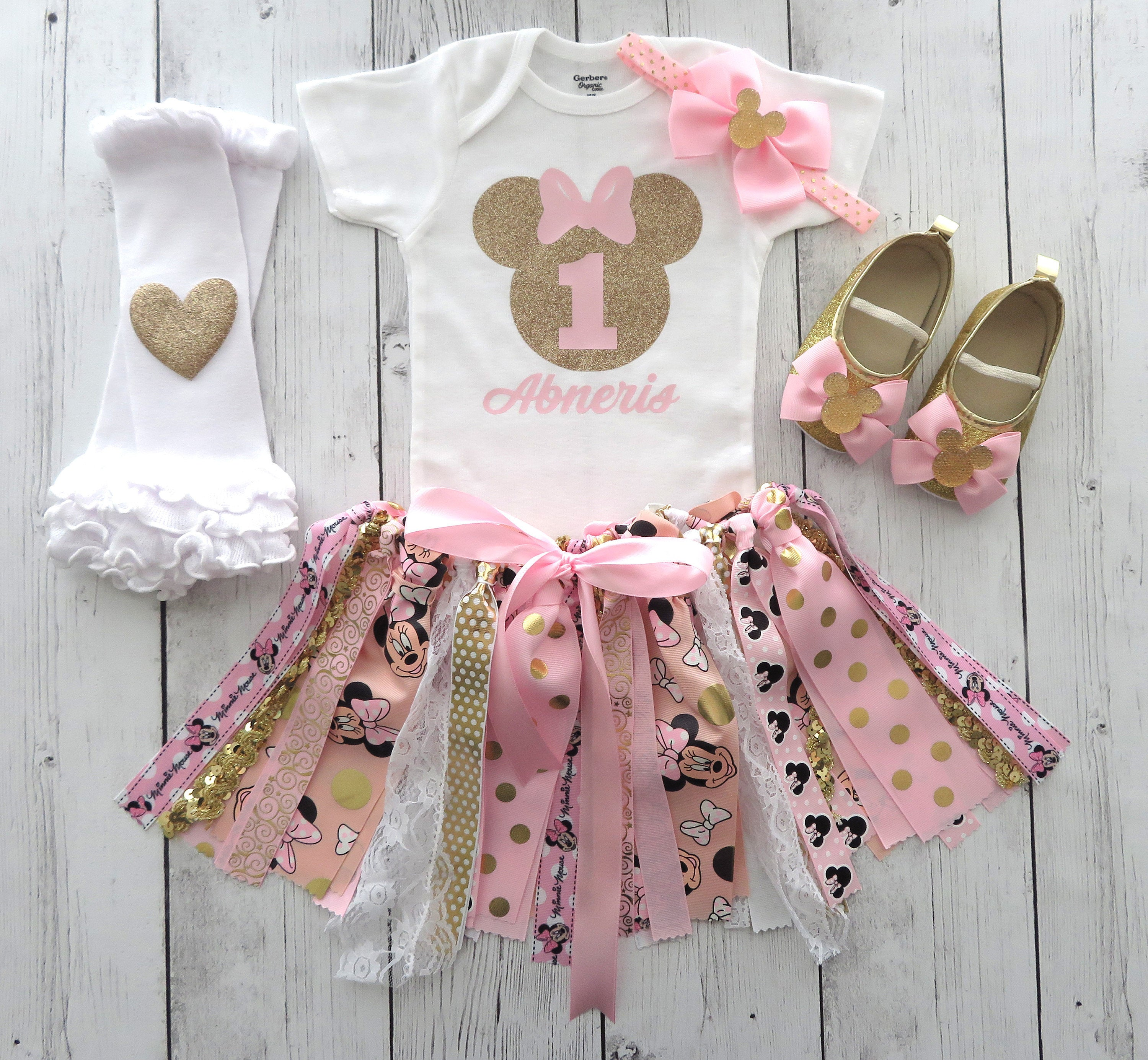 Minnie Mouse First Birthday Outfit with Tutu, Headband and Shoes in Pink and Gold - Minnie 1st bday outfit girl, minnie mouse tutu pink gold