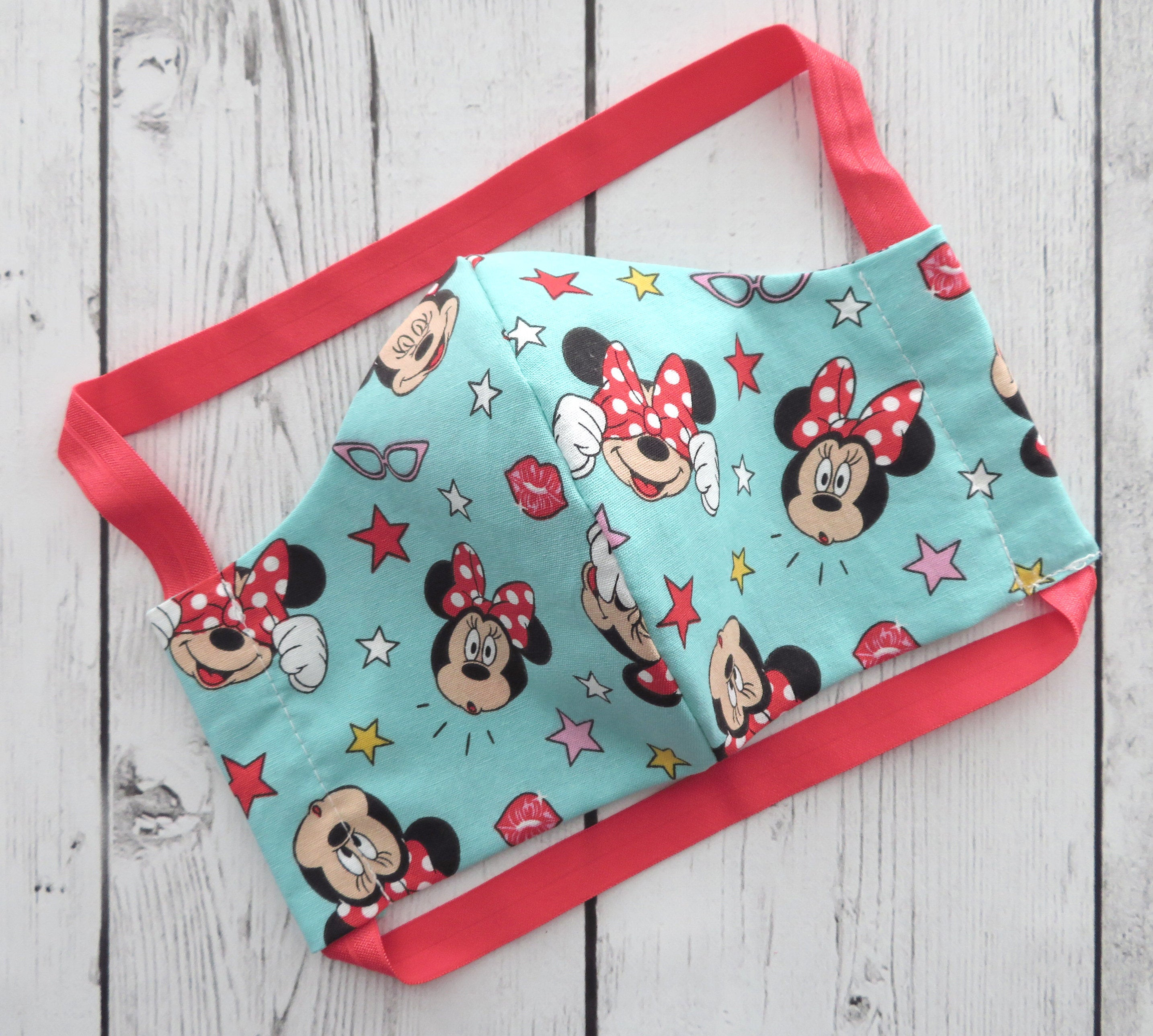 Adult Face Mask in Teal Minnie Mouse print - COMFORTABLE face mask, handmade cotton face mask for adult, washable and re-usable, patterned