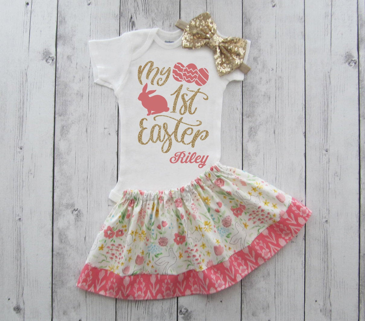 My First Easter dress - floral skirt, first easter outfit girl, easter outfit girl, shabby chic skirt, my first easter outfit girl, hibiscus