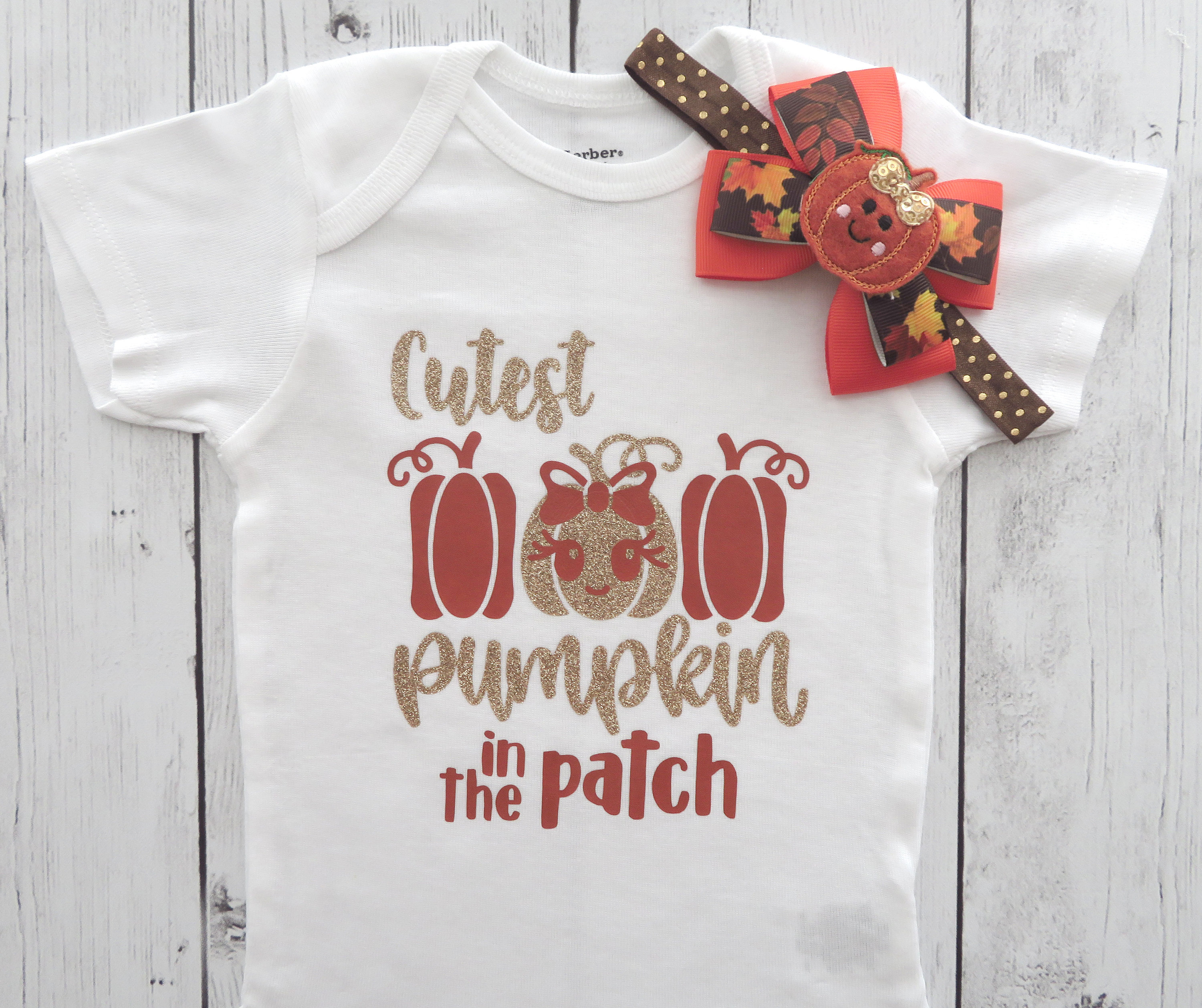 Cutest Pumpkin in the Patch Onesie - baby holiday outfit, pumpkin gold, first thanksgiving shirt, cutest pumpkin shirt, pumpkin bow