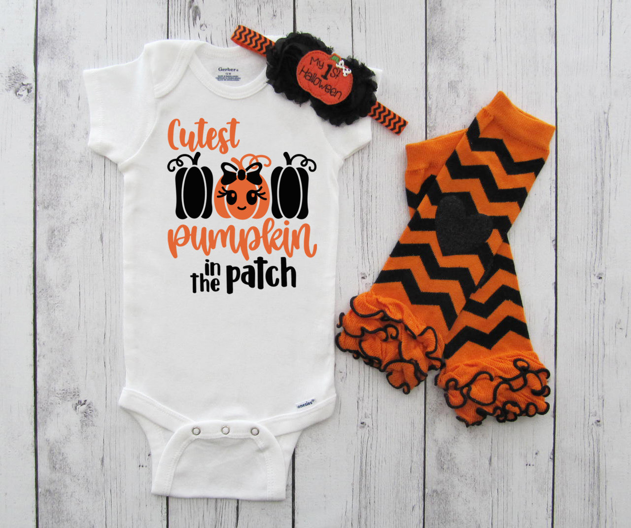 Cutest Pumpkin in the Patch Onesie - baby girl halloween outfit, baby halloween costume, pumpkin patch, first halloween, cutest pumpkin shirt