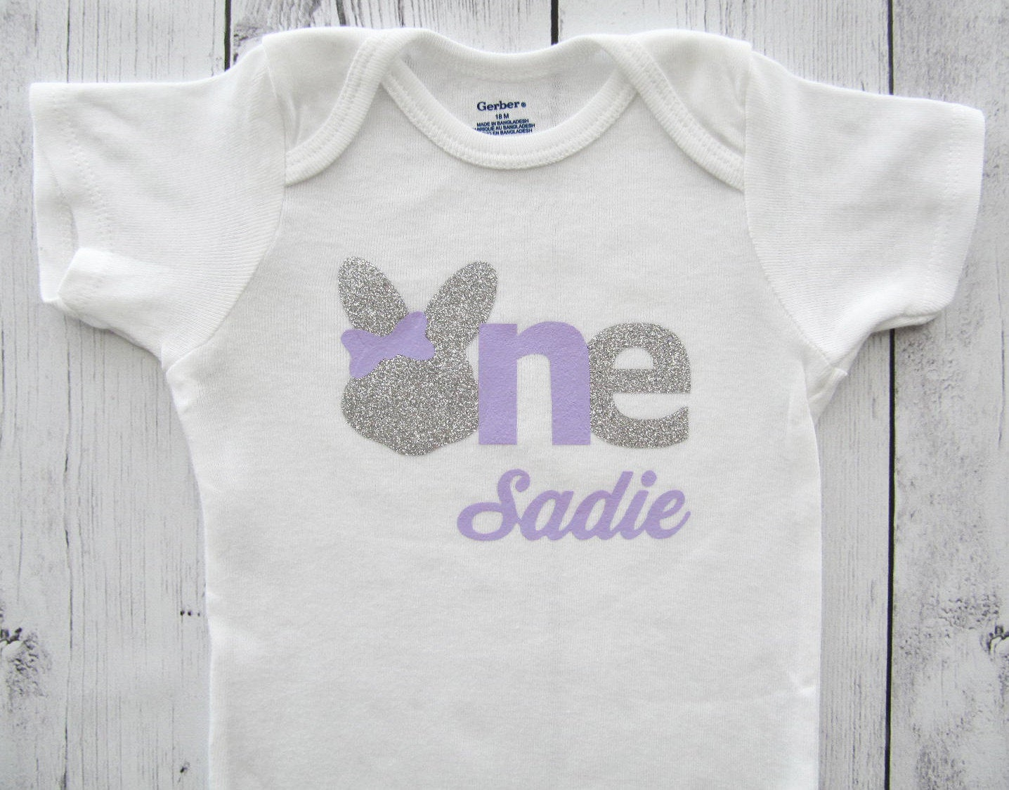 Bunny One First Birthday Onesie - baby girl first birthday, some bunny is one, bunny shirt, bunny birthday, silver