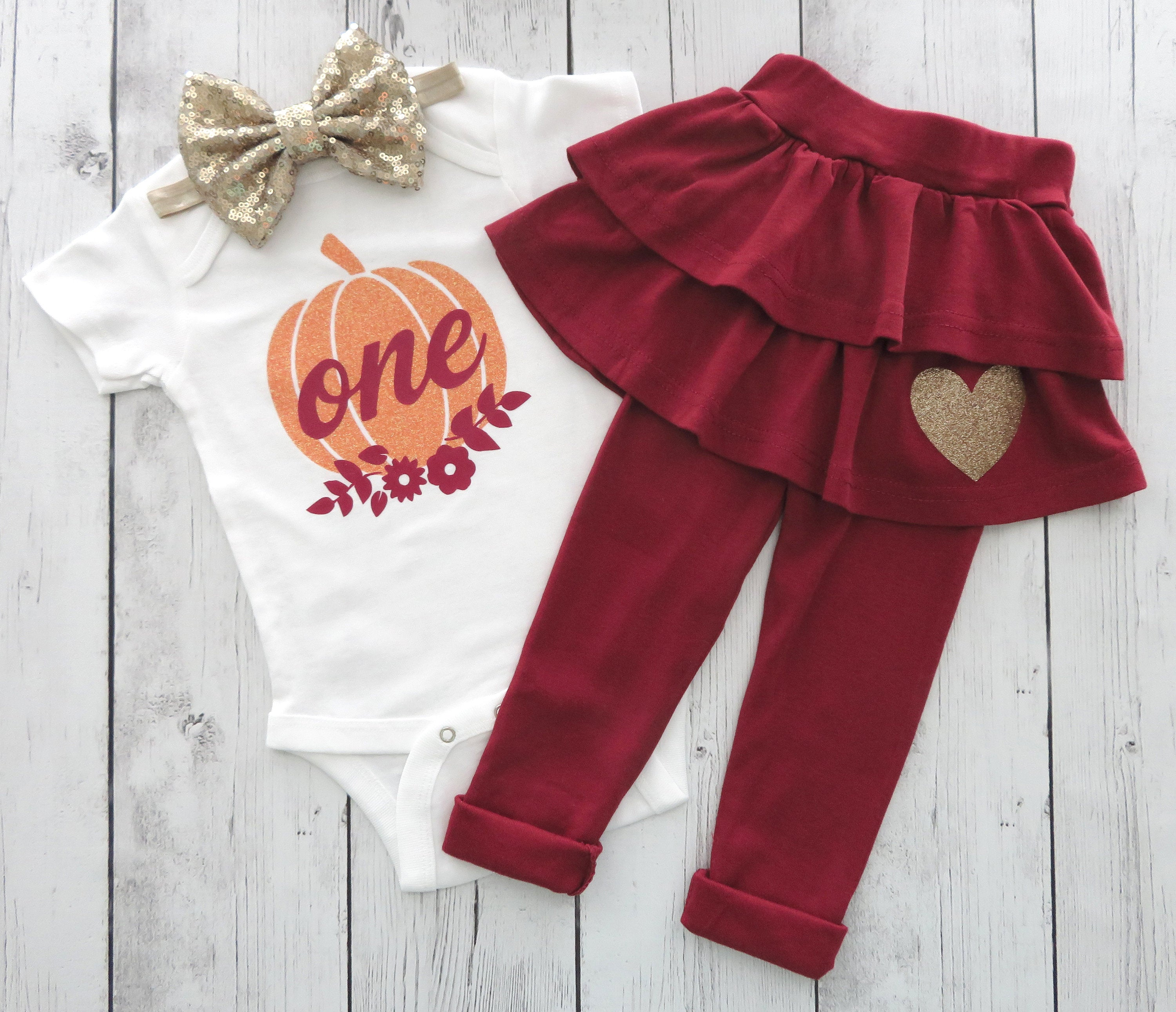 Pumpkin First Birthday Outfit in burgundy / wine and orange - fall birthday, girl 1st birthday outfit, our little pumpkin is turning one