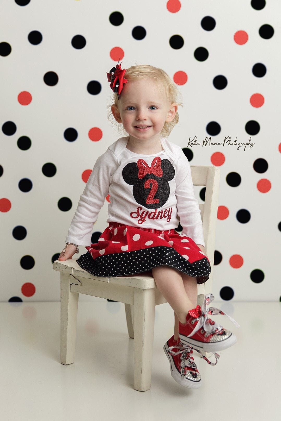 Minnie Mouse Second Birthday Outfit in red polka dots with minnie ears - two year old, 2nd bday outfit, minnie second birthday dress red