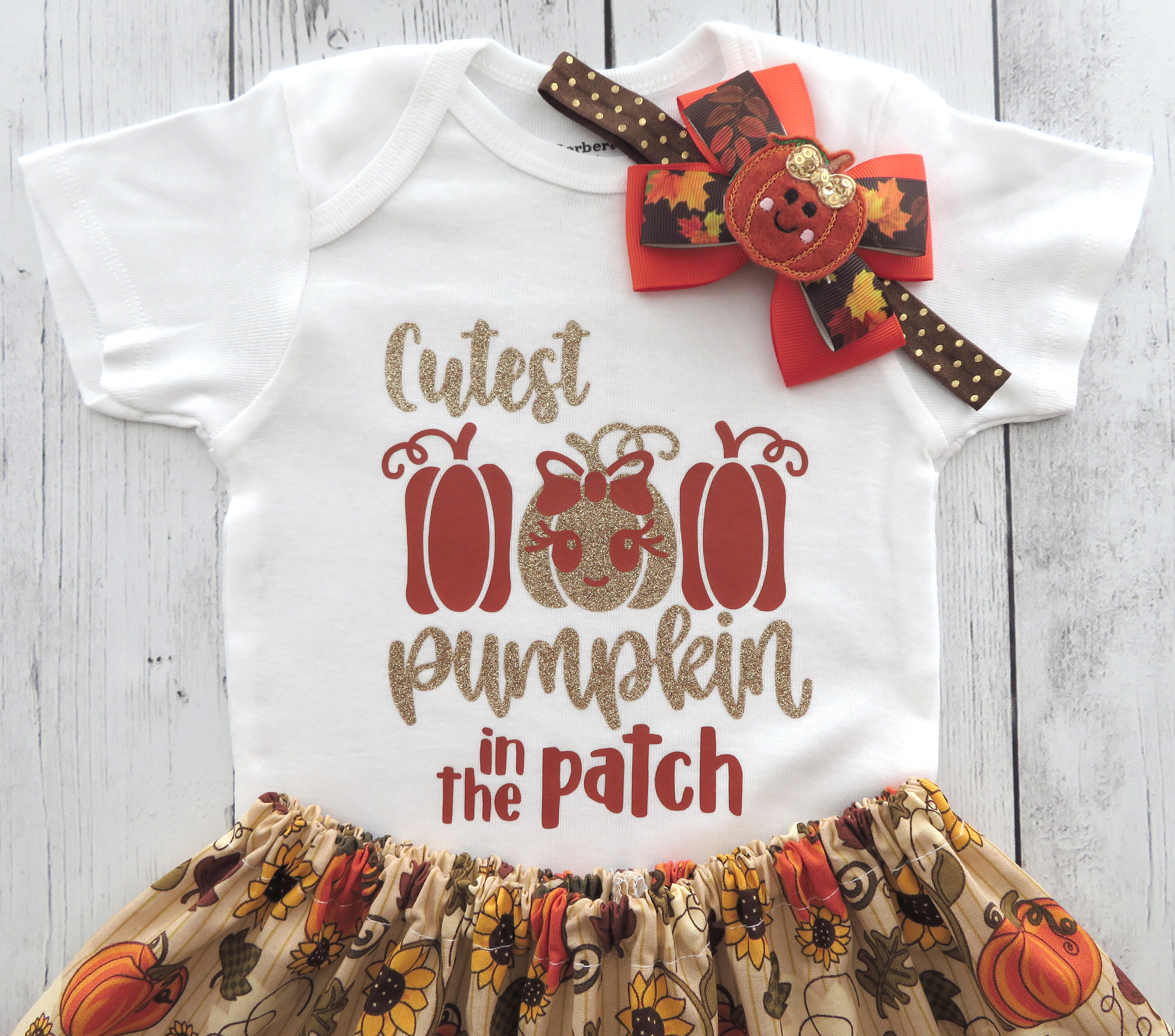 Cutest Pumpkin in the Patch Outfit for Baby Girl - first thanksgiving, holidays, holiday outfit, turkey day, pumpkin, babys first
