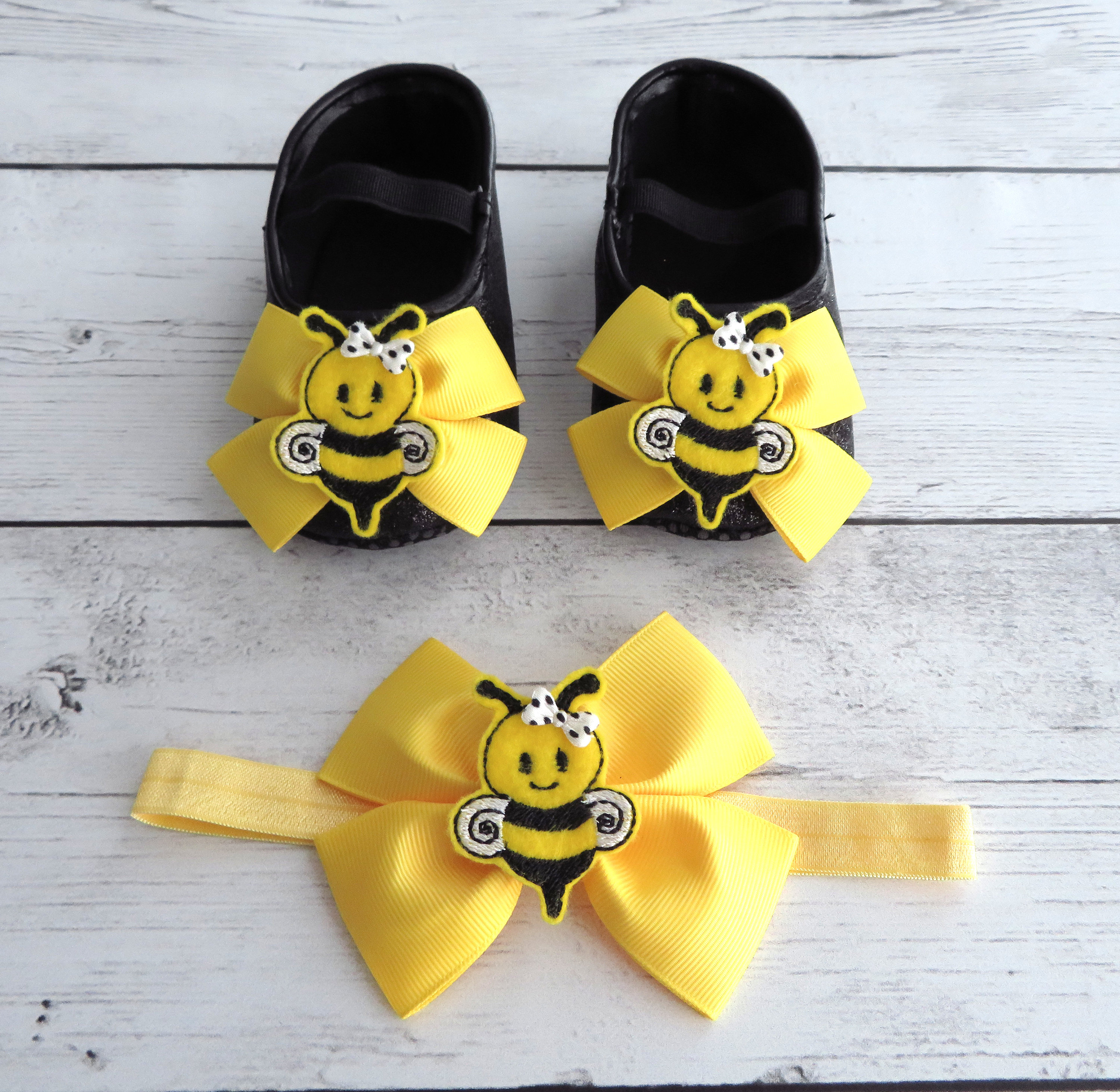 Bee First Birthday Shoes & Headband Set in black and yellow - my 1st bee-day, bumble bee first bday, bee birthday shoes, bee headband