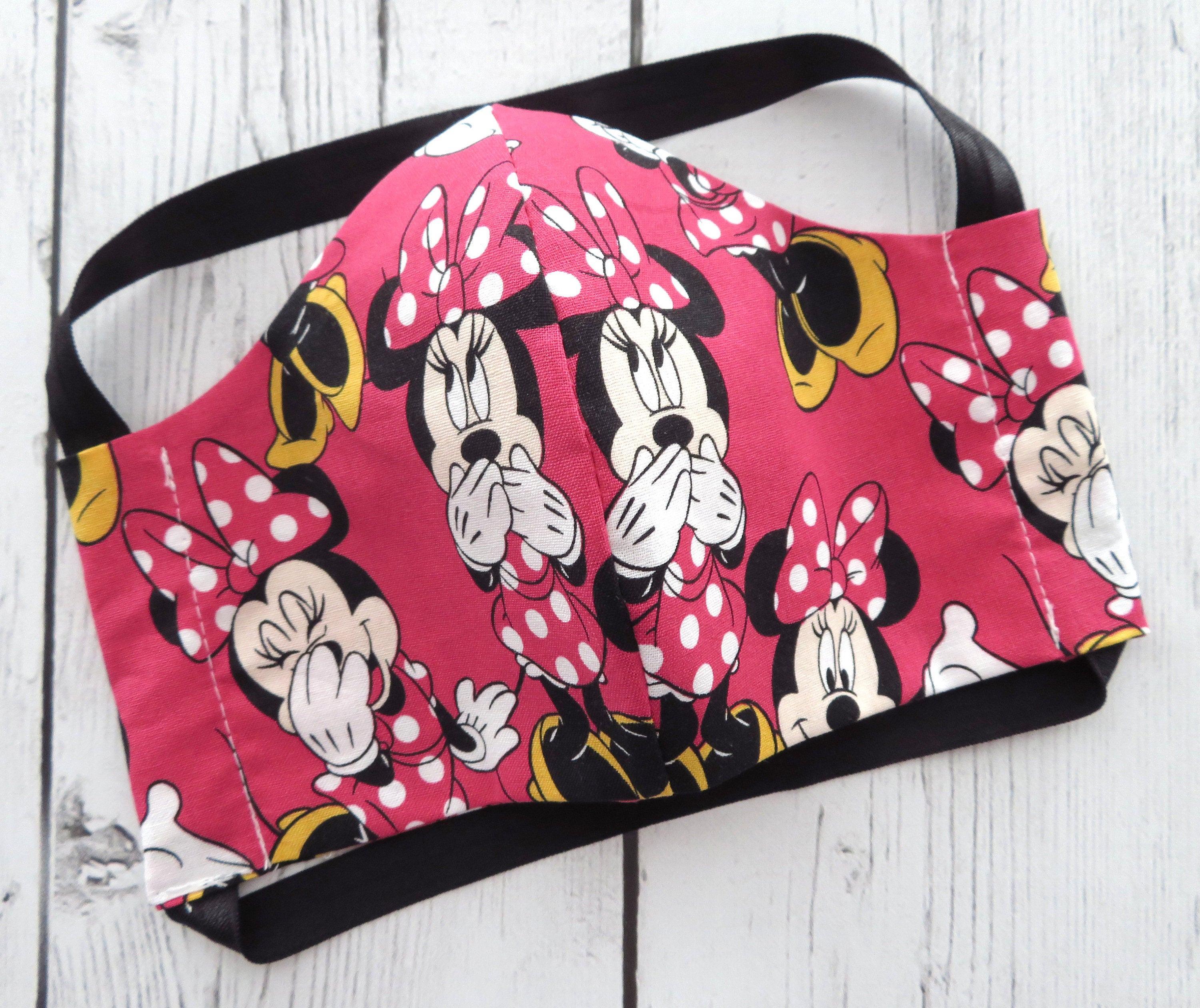 Minnie Mouse TEEN (Ages 9-15) Face Mask - handmade cotton, washable & re-usable, comfortable head elastic, teenager face mask, disney mask