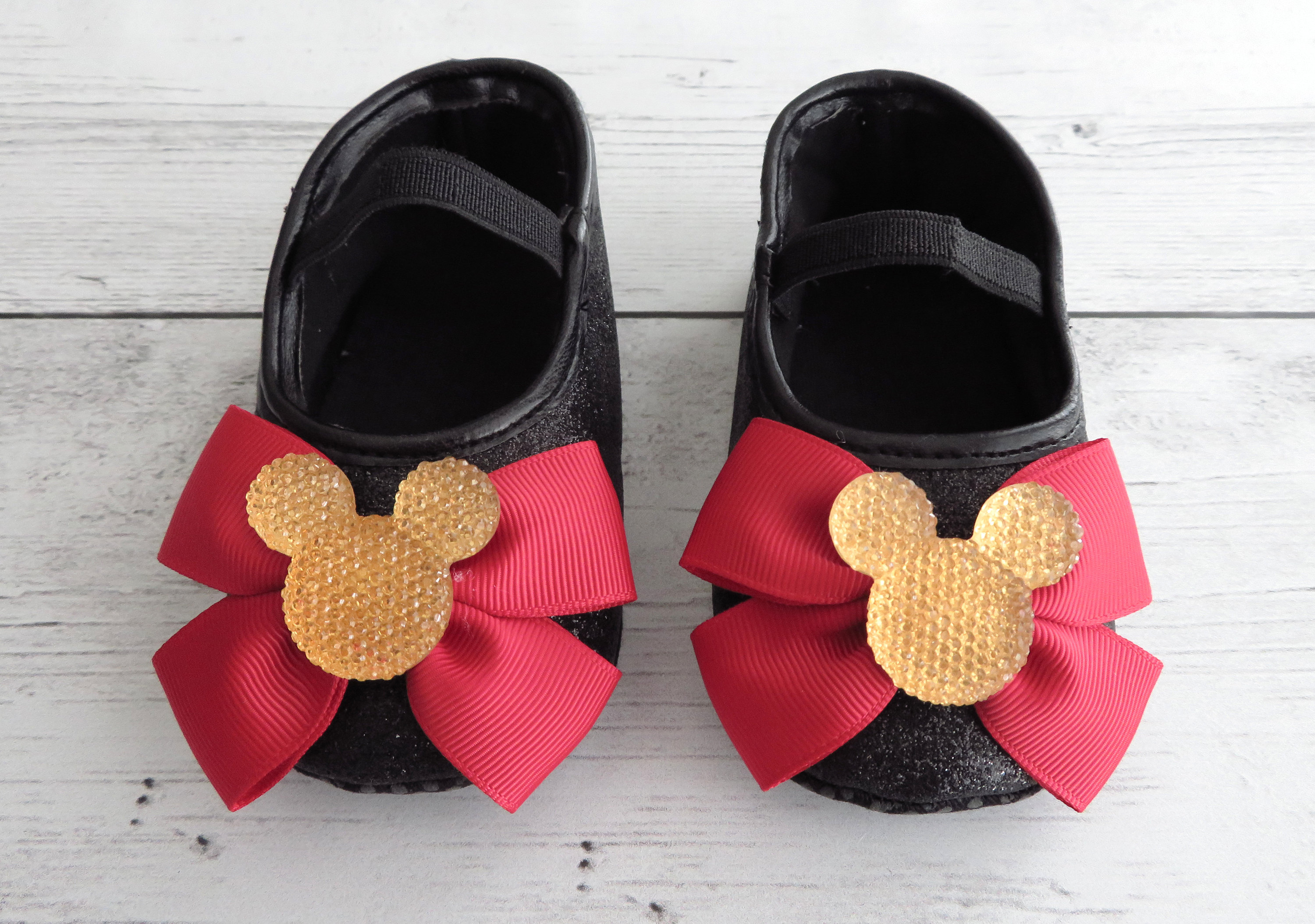 Minnie Mouse First Birthday Shoes in black red and gold - minnie 1st bday outfit, minnie red gold birthday, minnie shoes, minnie mouse bday